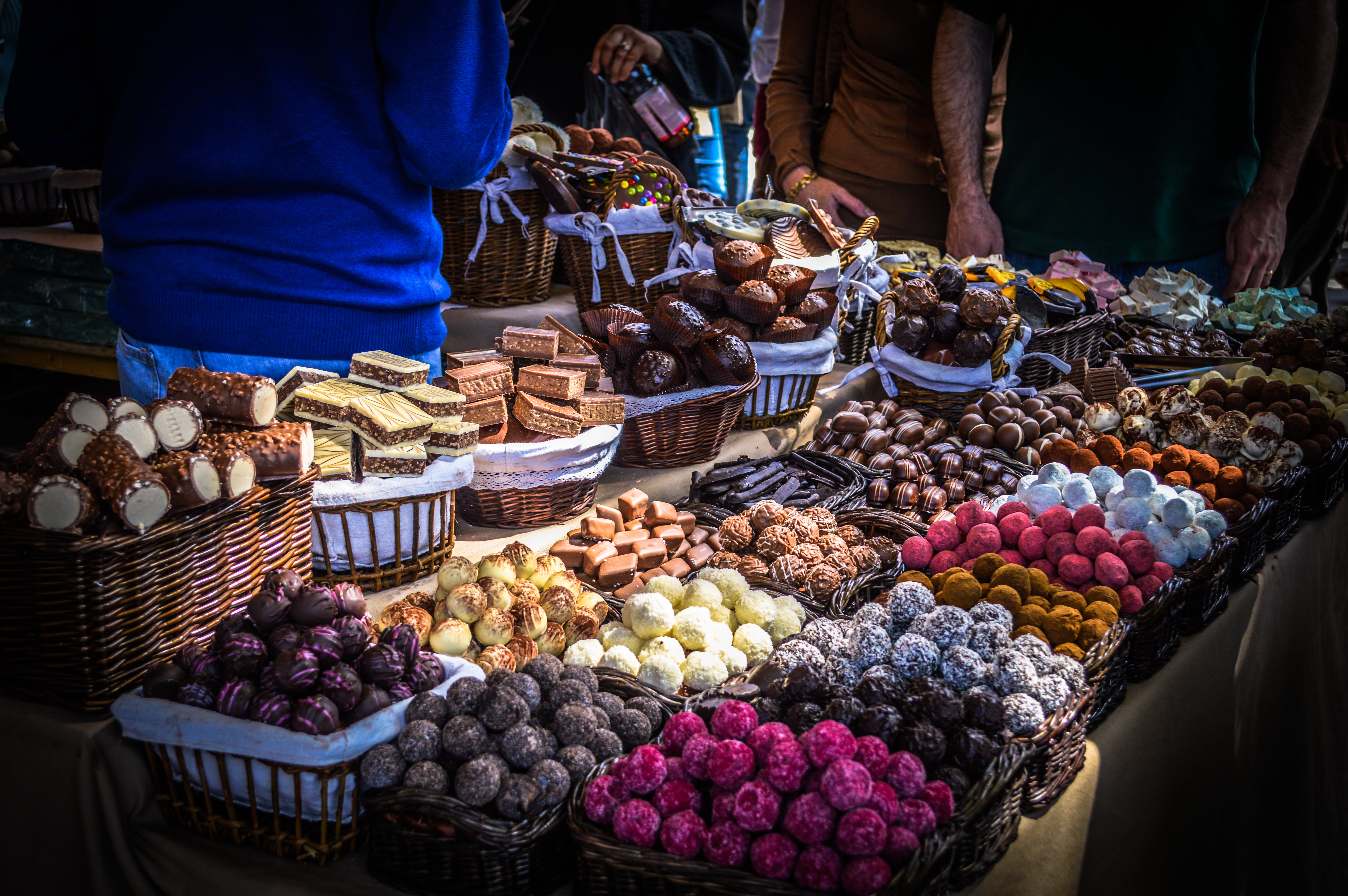 Free stock photo of candy, chocolates, food festival, food market