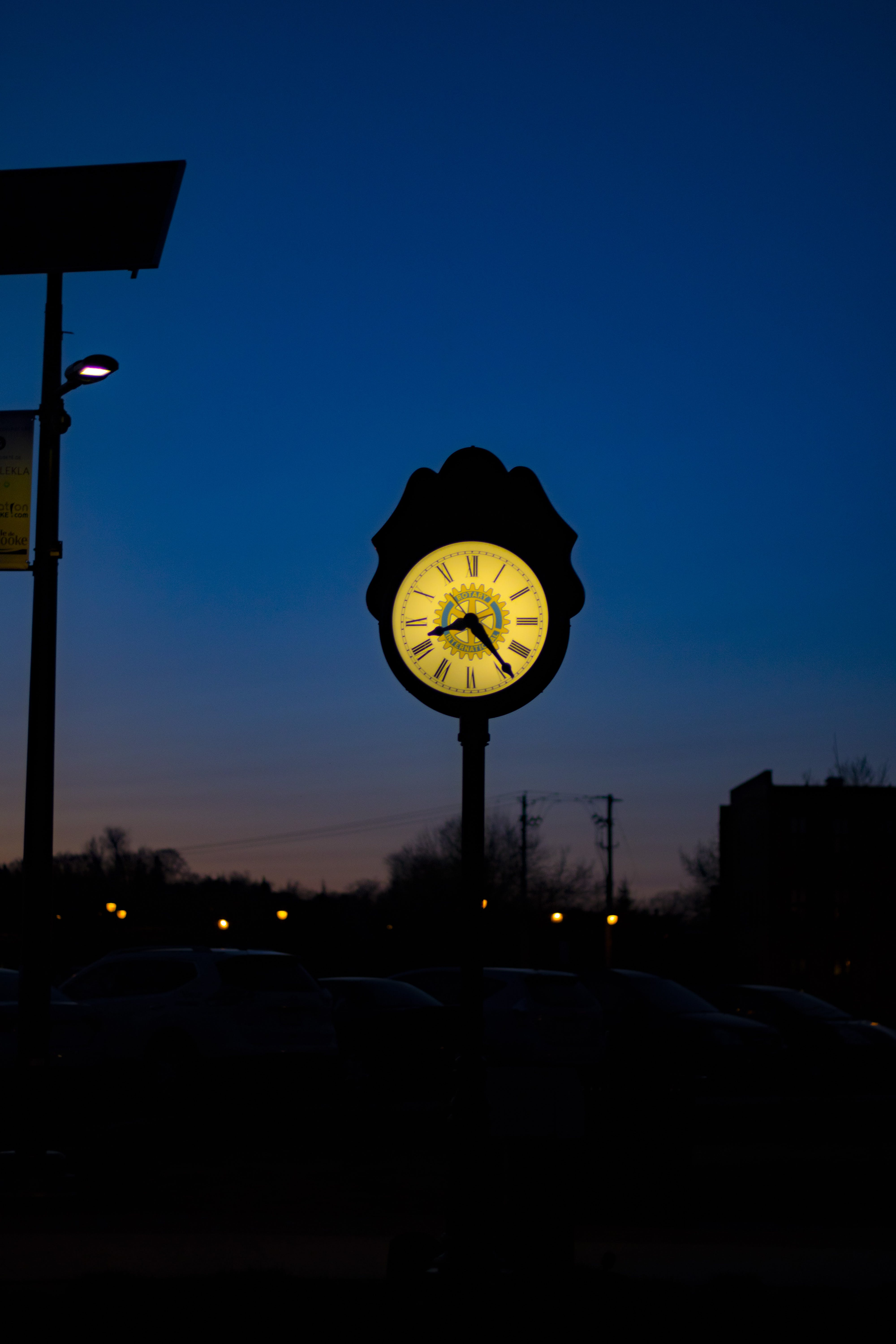 Silhouette of Clock Tower at 8:25