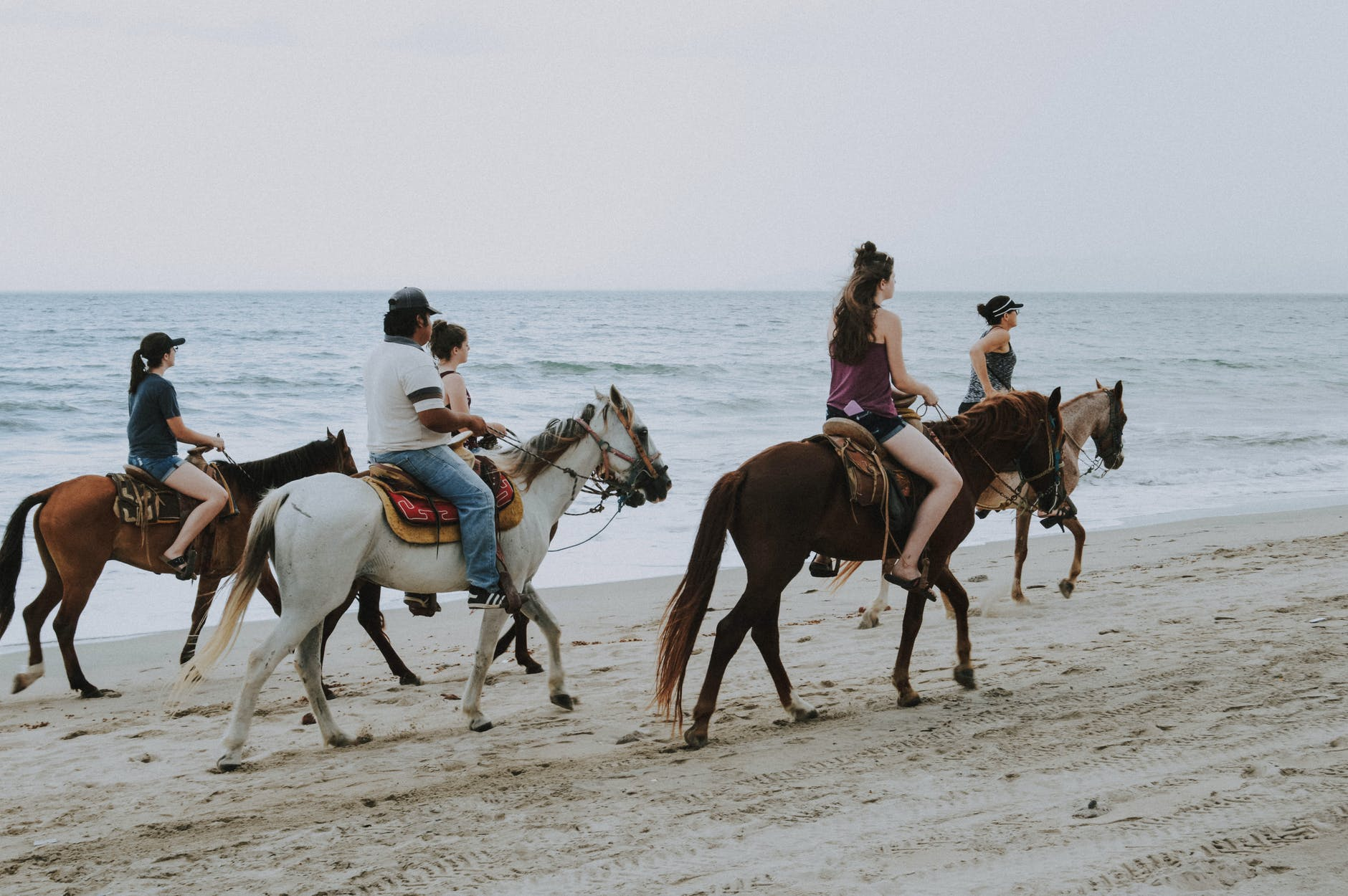 five person riding horseback on the beach