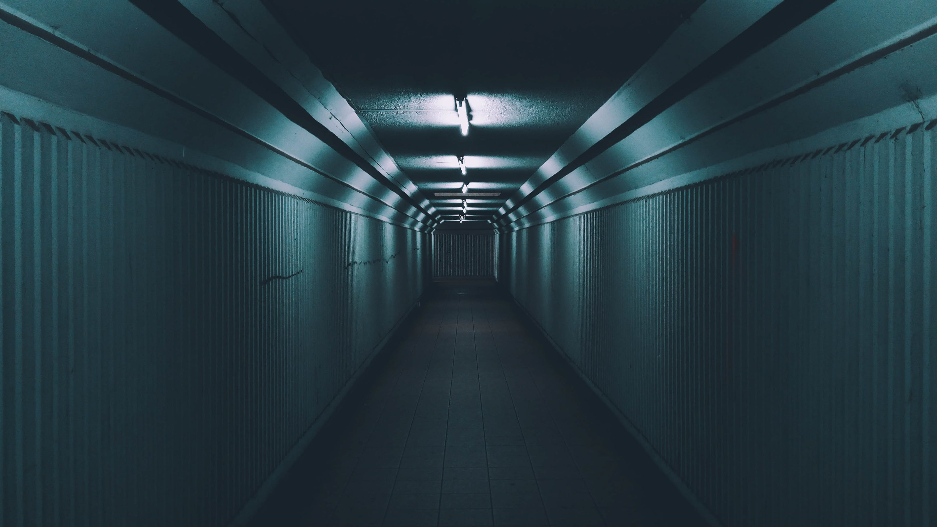 Empty Hallway with Lights Turned on