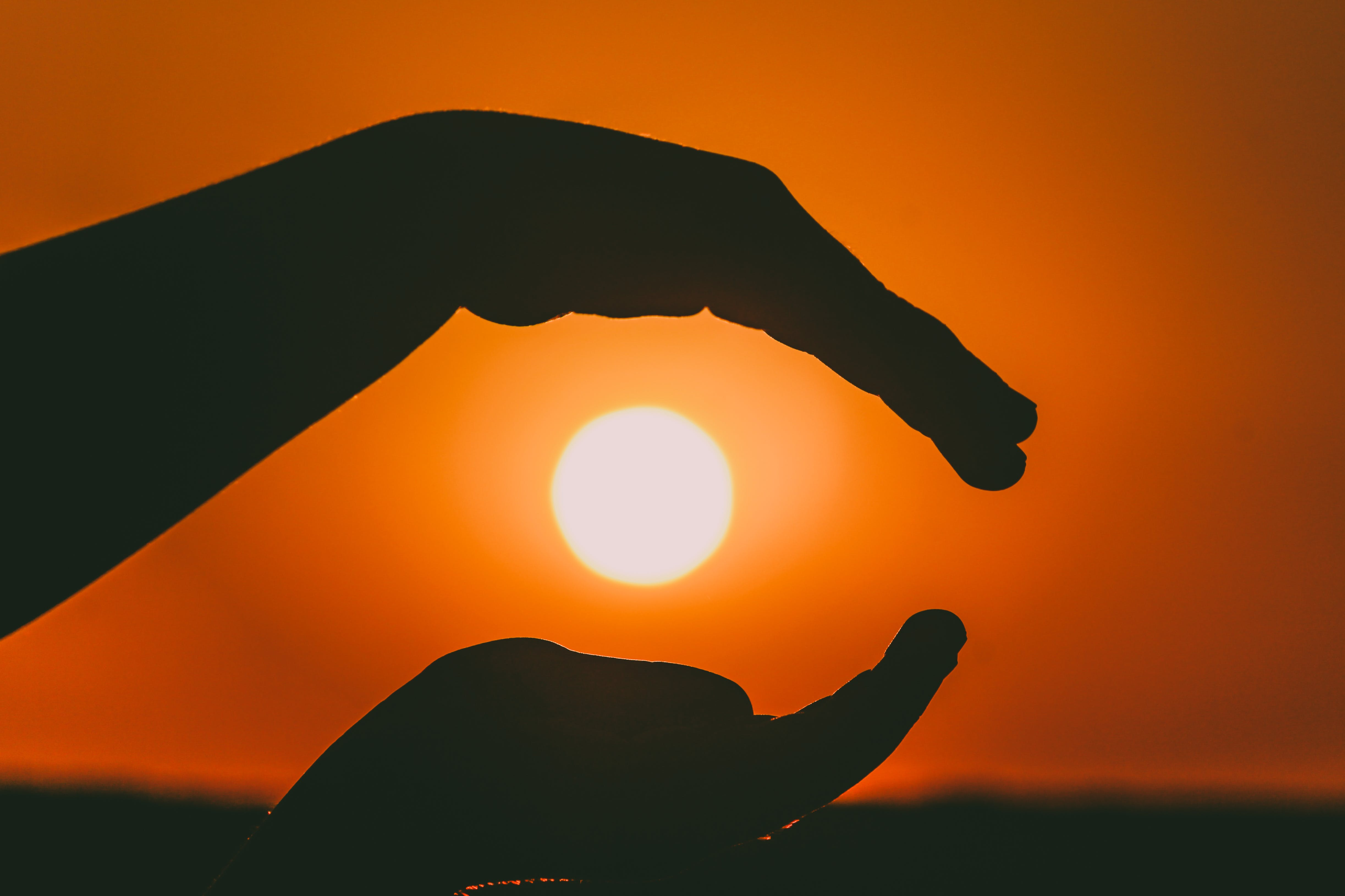 Silhouette of Person's Hands during Sunset