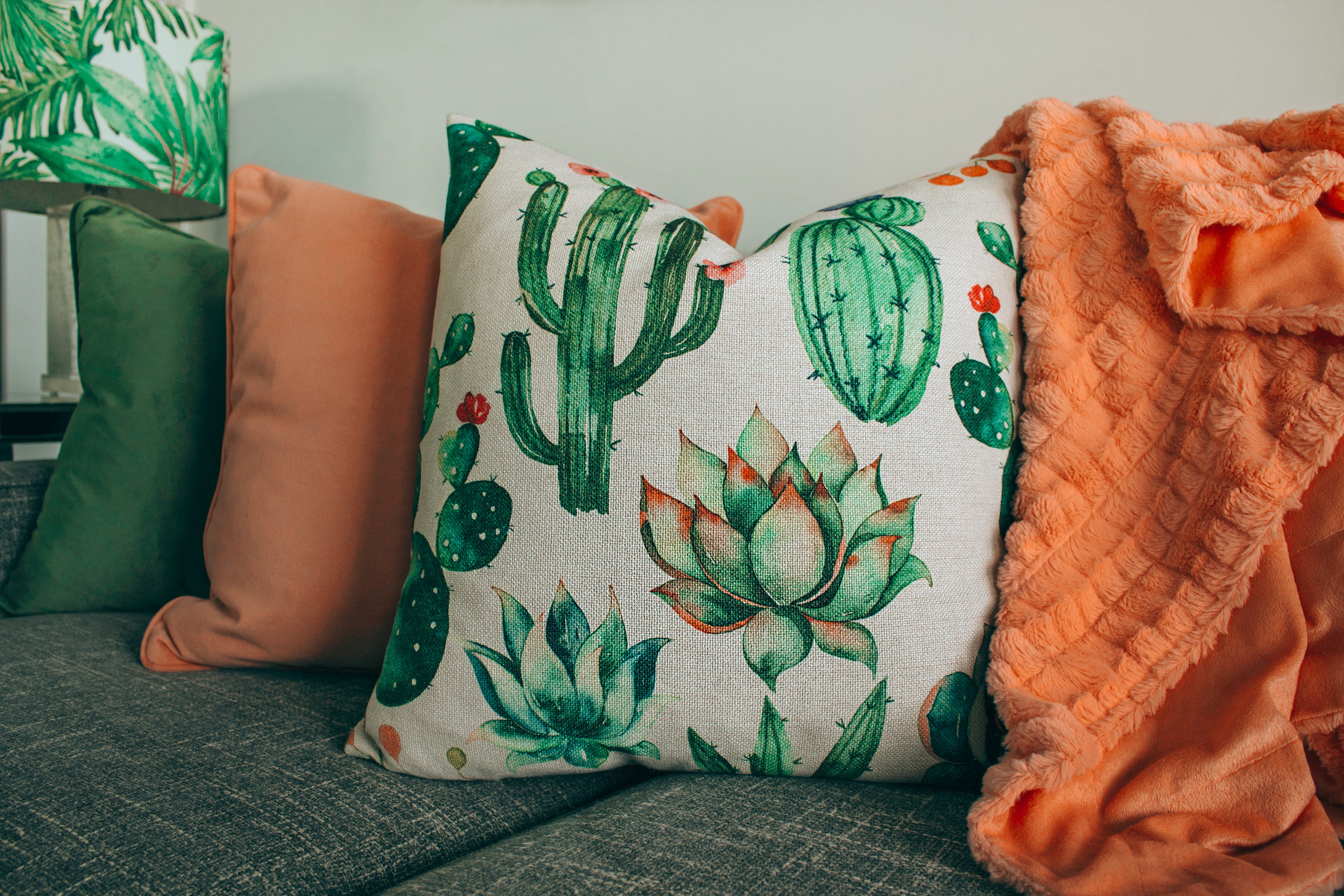 White and Green Floral Throw Pillow