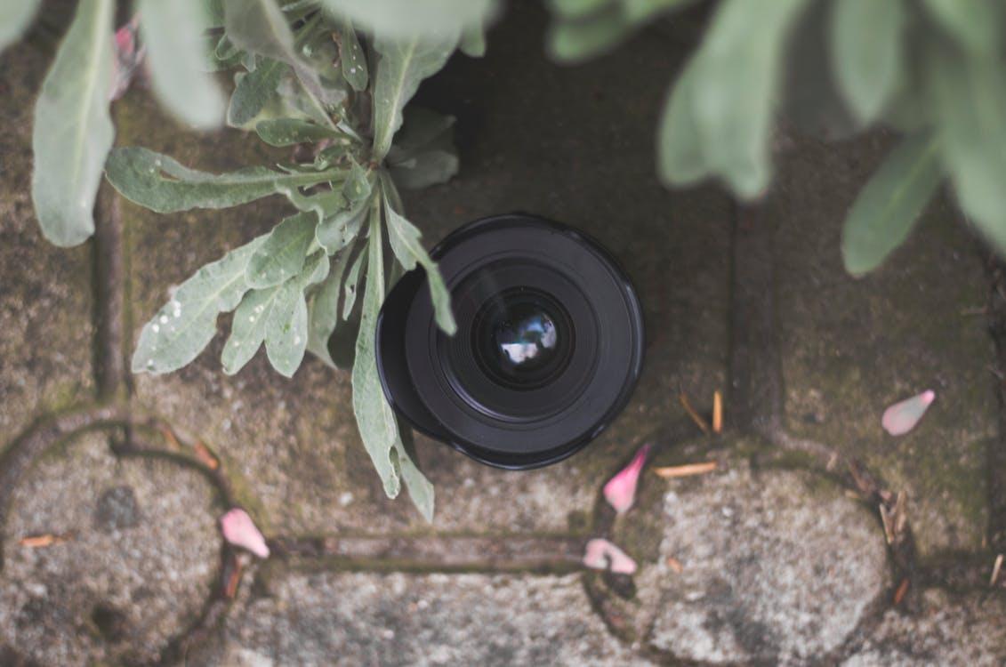 Dslr Camera Lens on Gray Pavement