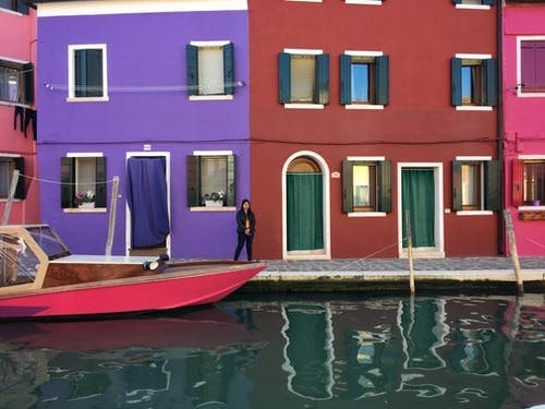 Free stock photo of burano, canal, colorful houses