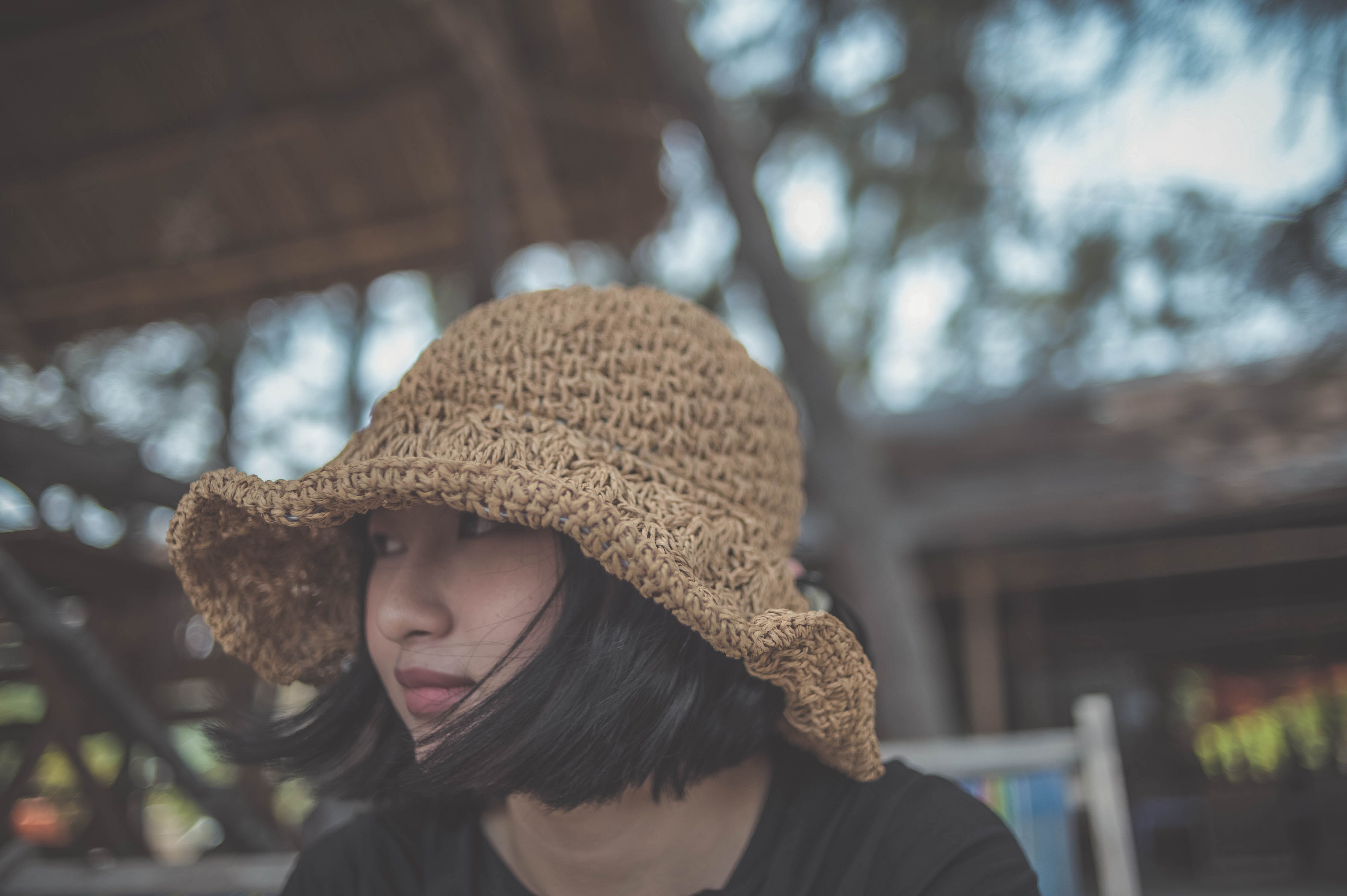 Woman Wearing Brown Knitted Hat