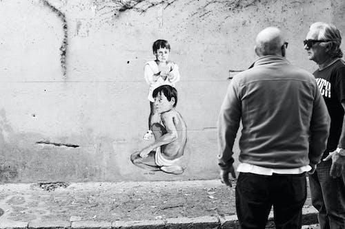 Ảnh lưu trữ miễn phí về bọn trẻ, bức họa, đàn ông, đen và trắng