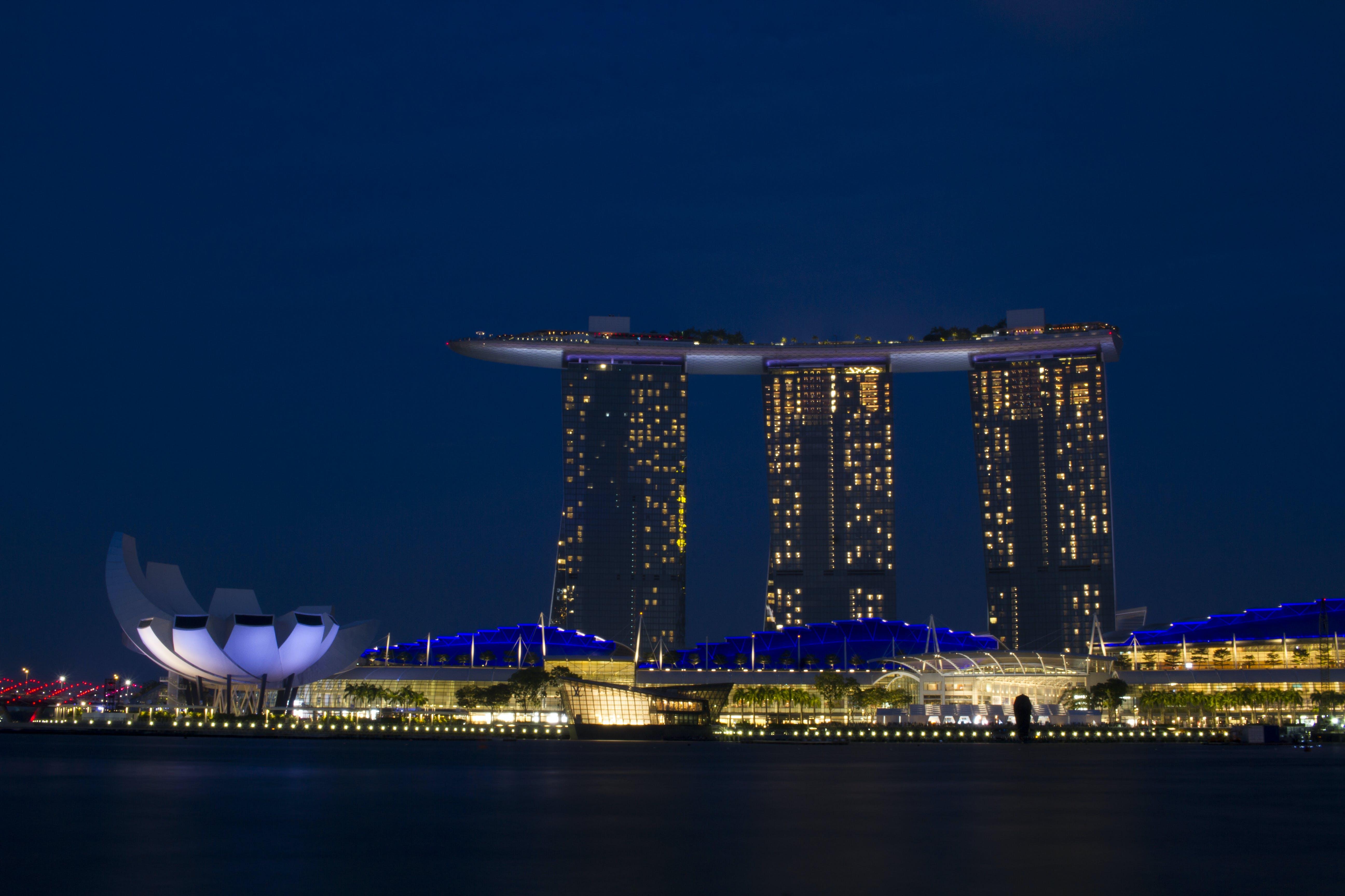 Marina Bay Sands, night city, singapore