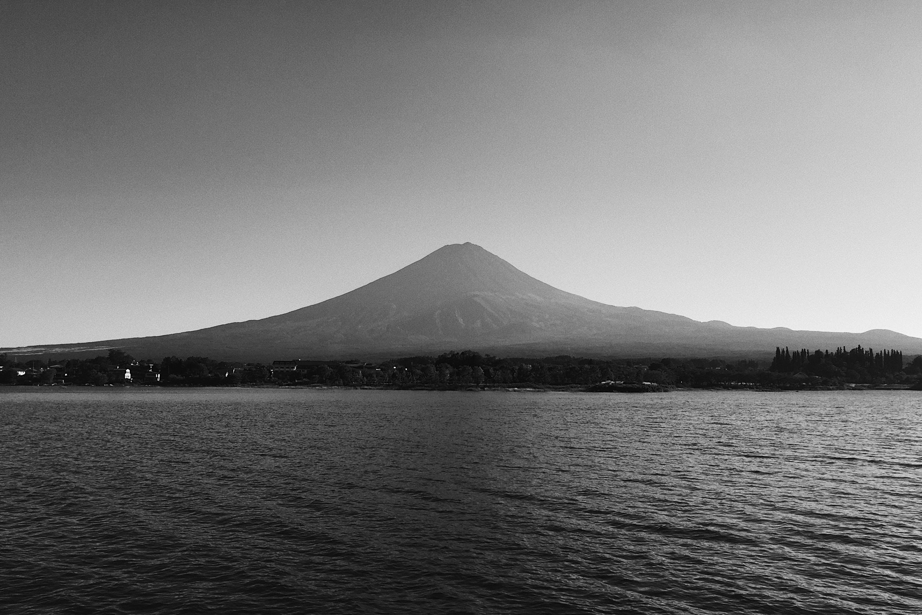 Free stock photo of black and white, calm, japan, lake