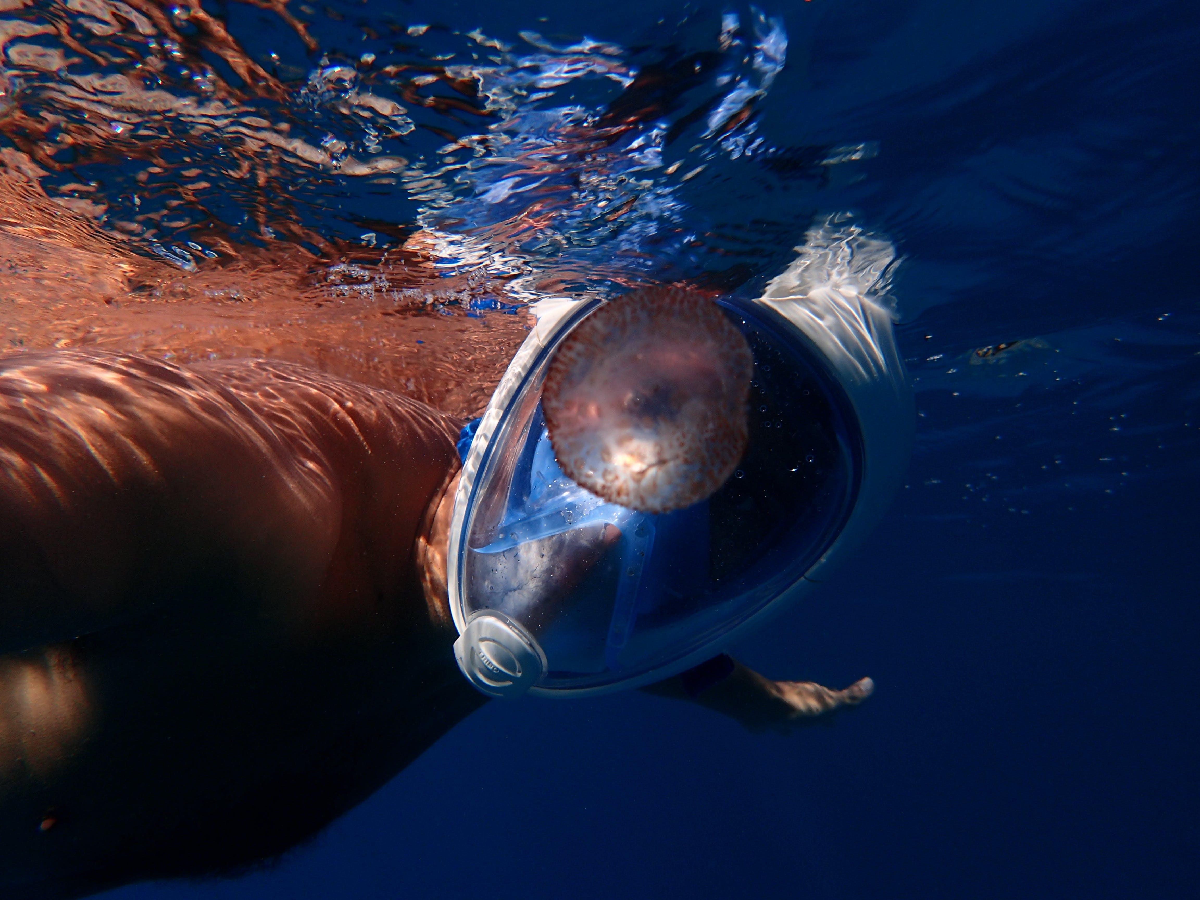 Man Swimming Wearing Full-face Snorkelling Mask
