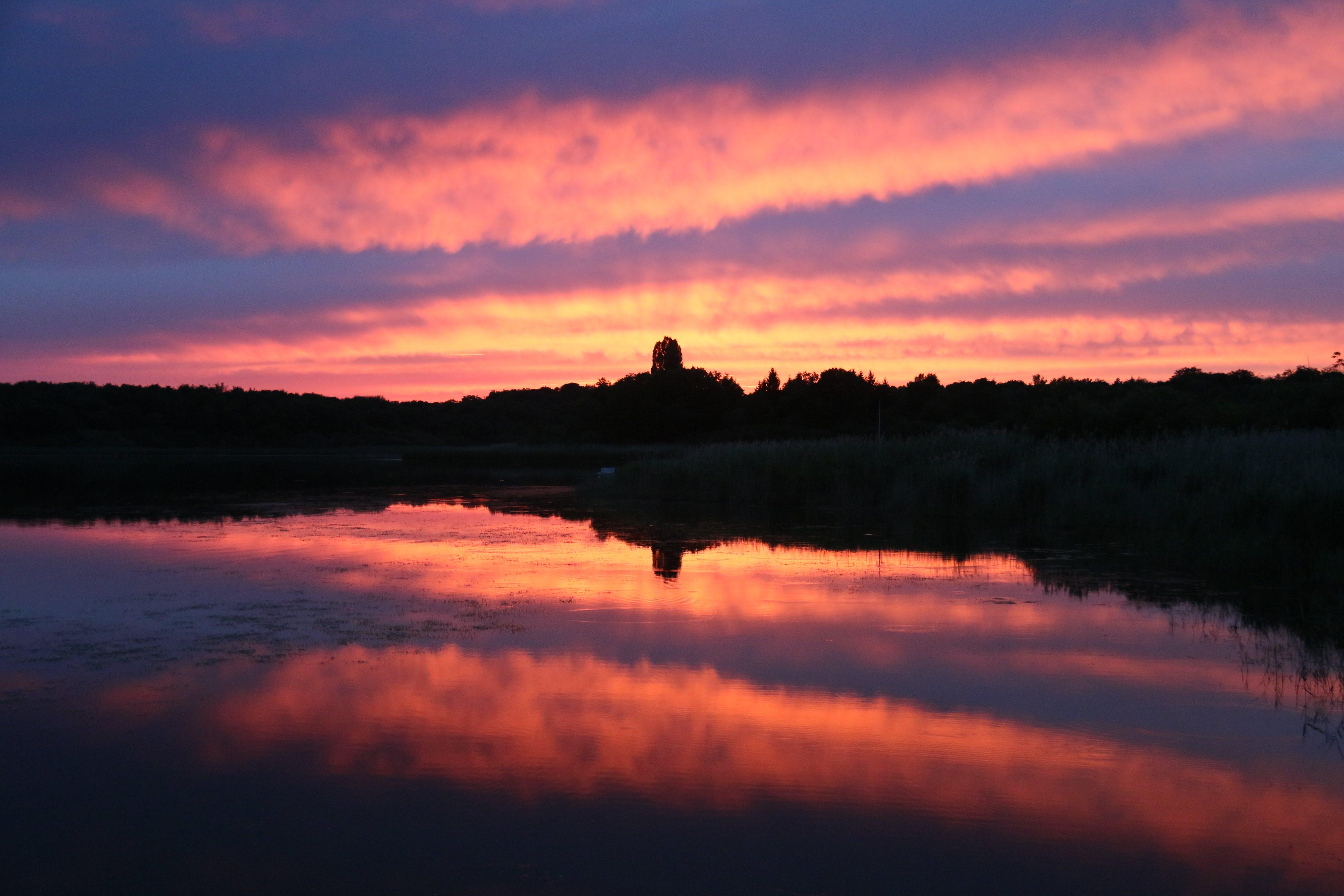 Free stock photo of alpenglow, lake, red sky