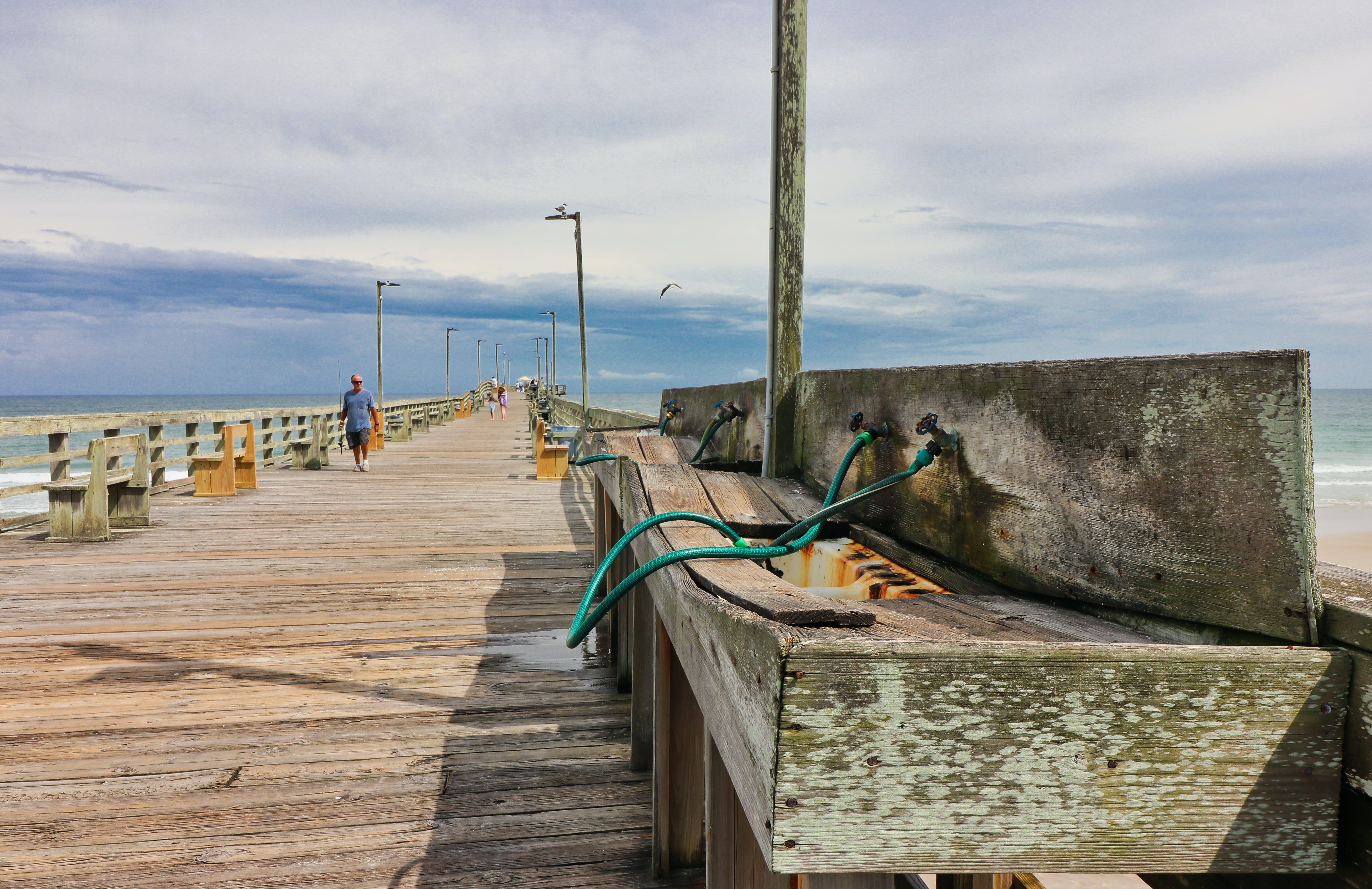 Free stock photo of fisherman, wooden pier