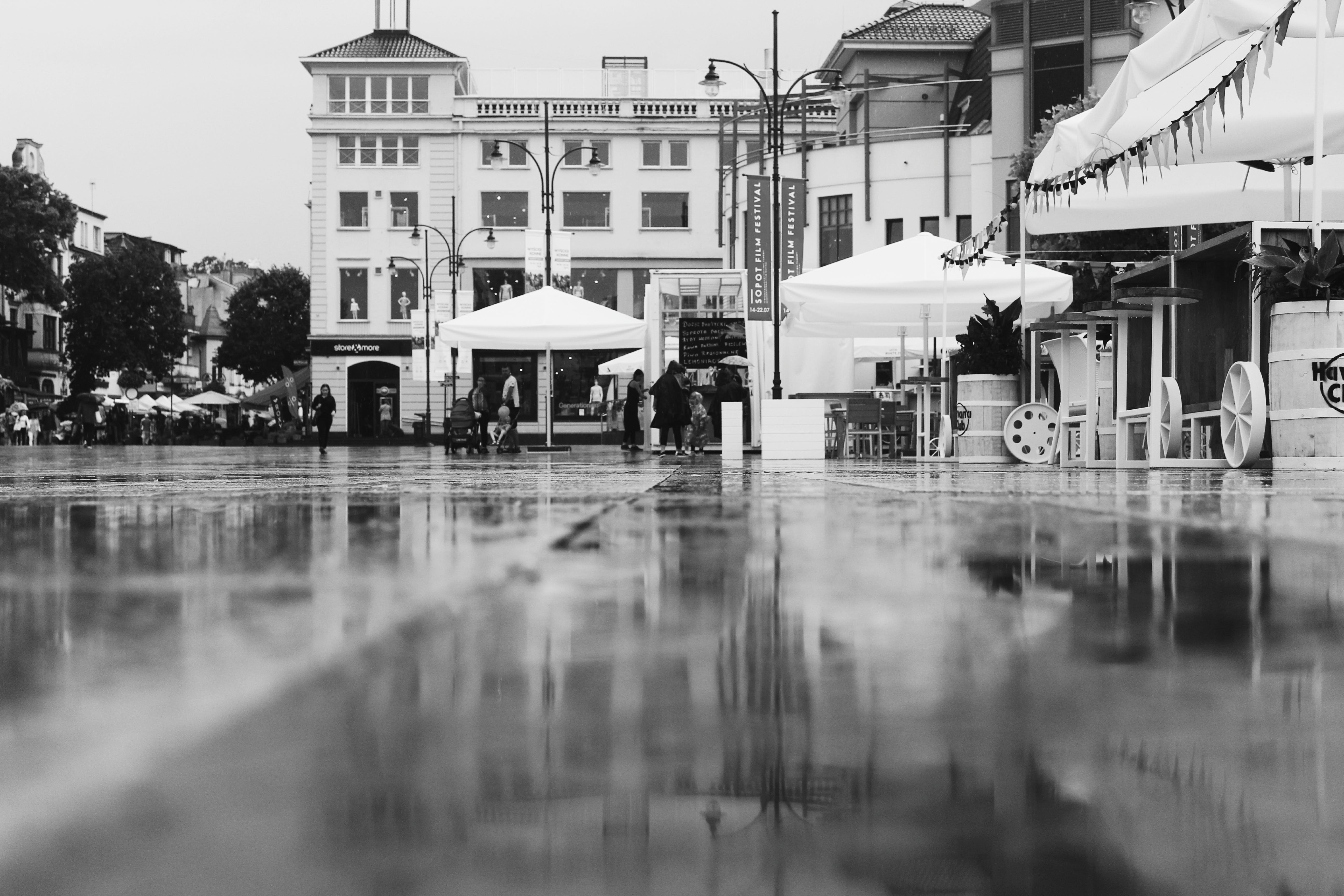 Greyscale Photography of City Building