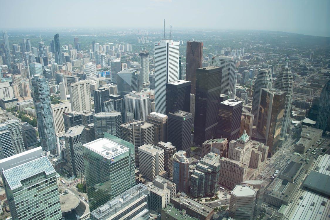 bắn góc cao, các tòa nhà, cảnh quan thành phố