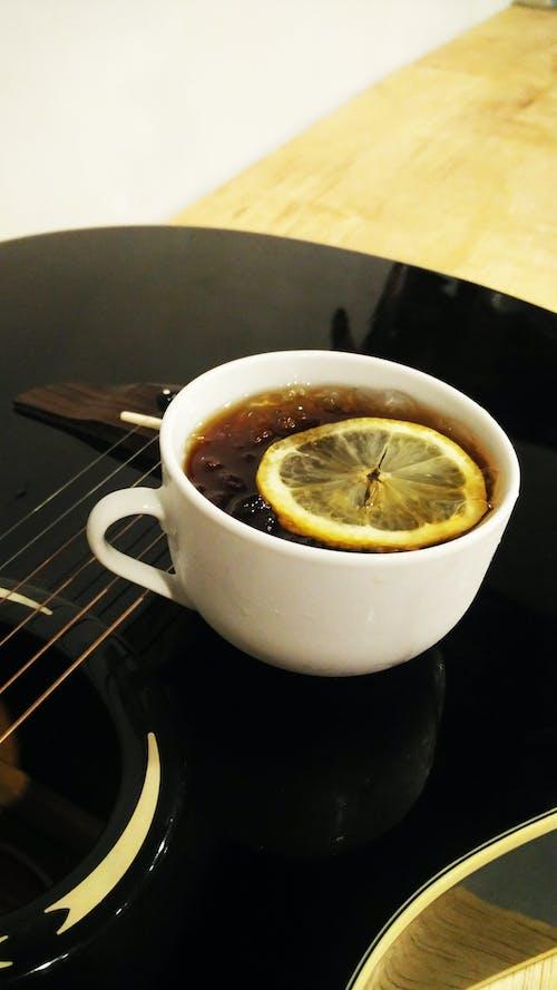 Free stock photo of black coffee, coffee, guitar