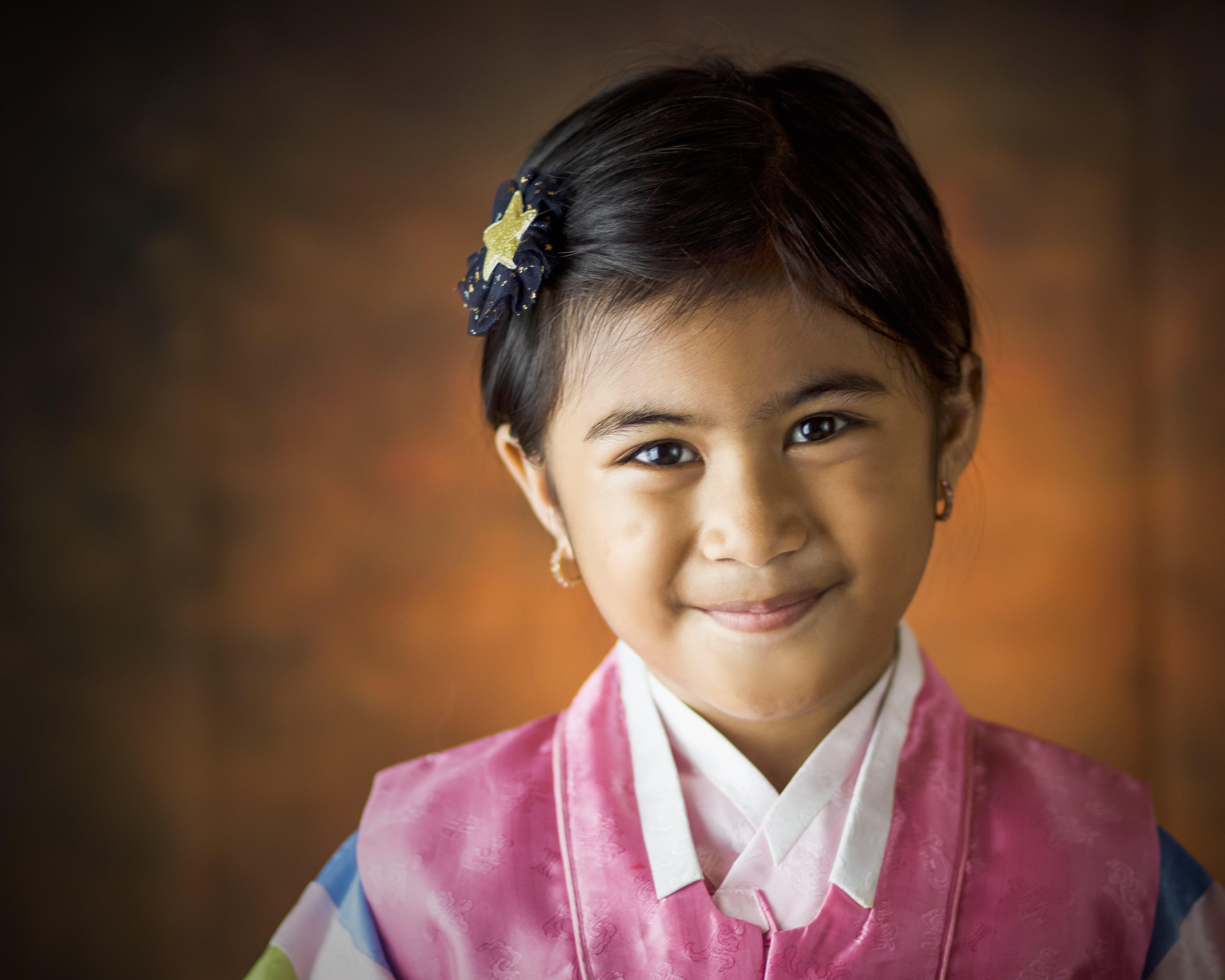 Girl Wearing Pink Hanbok Dress