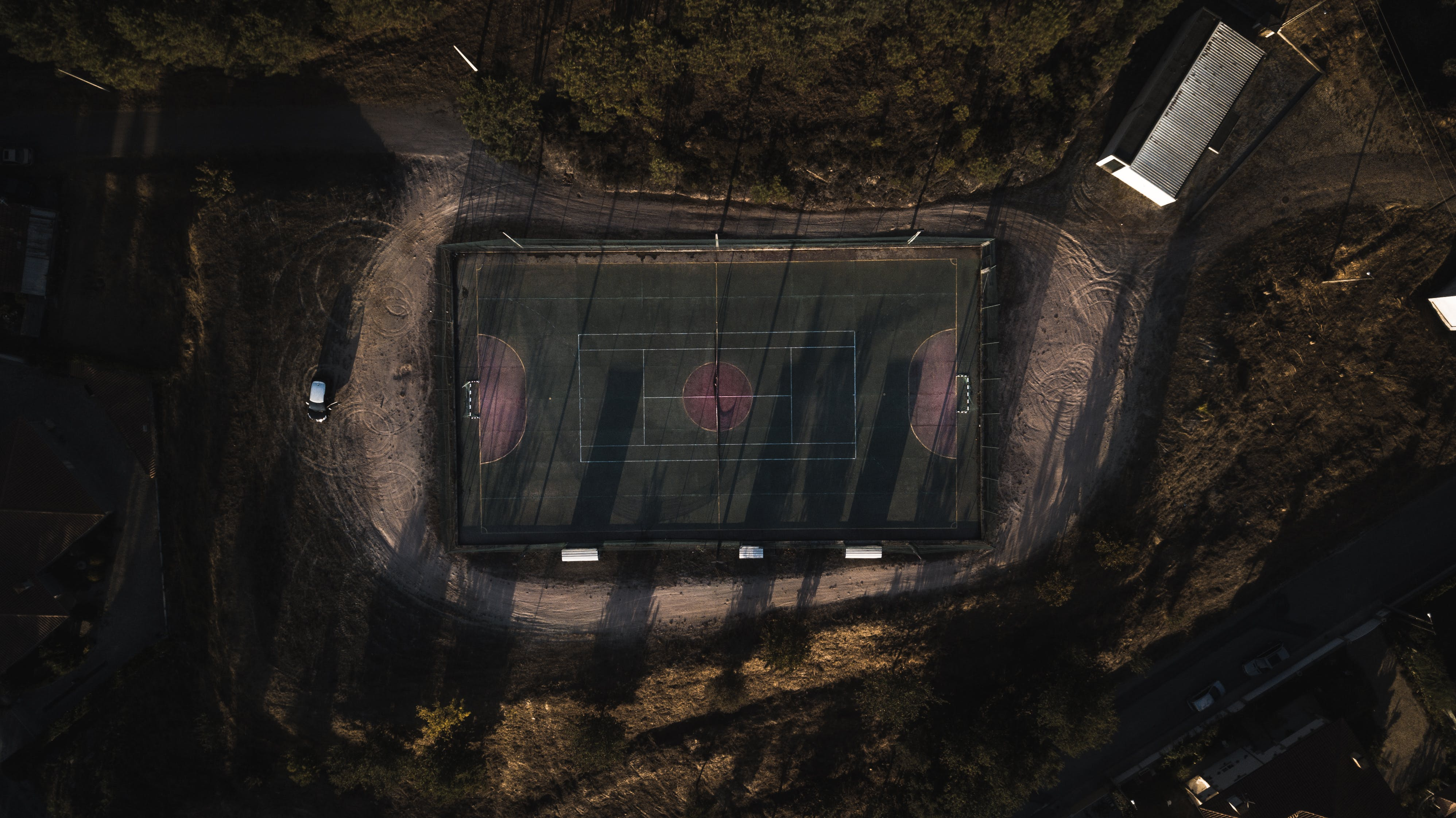 Aerial View of Badminton Court