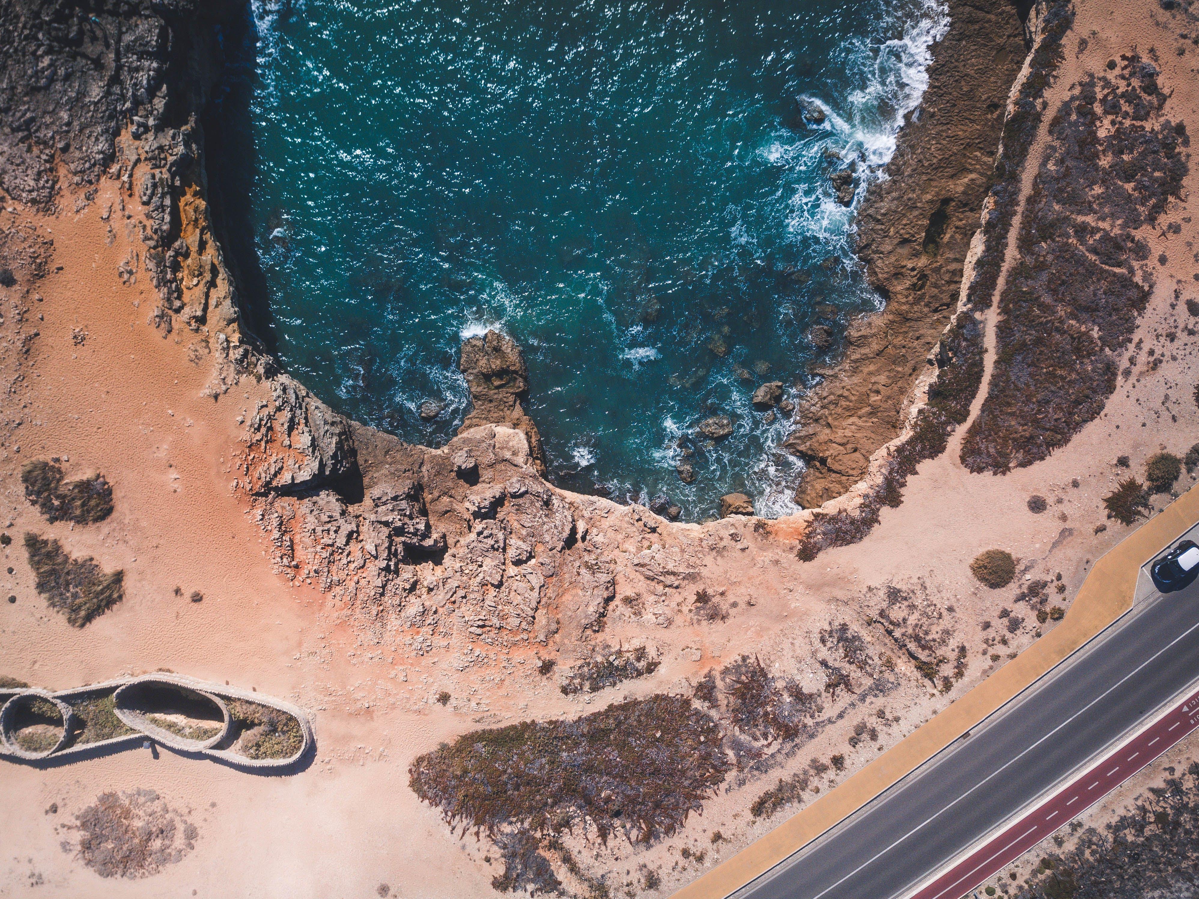 Free stock photo of drone, nature, rocks, sea
