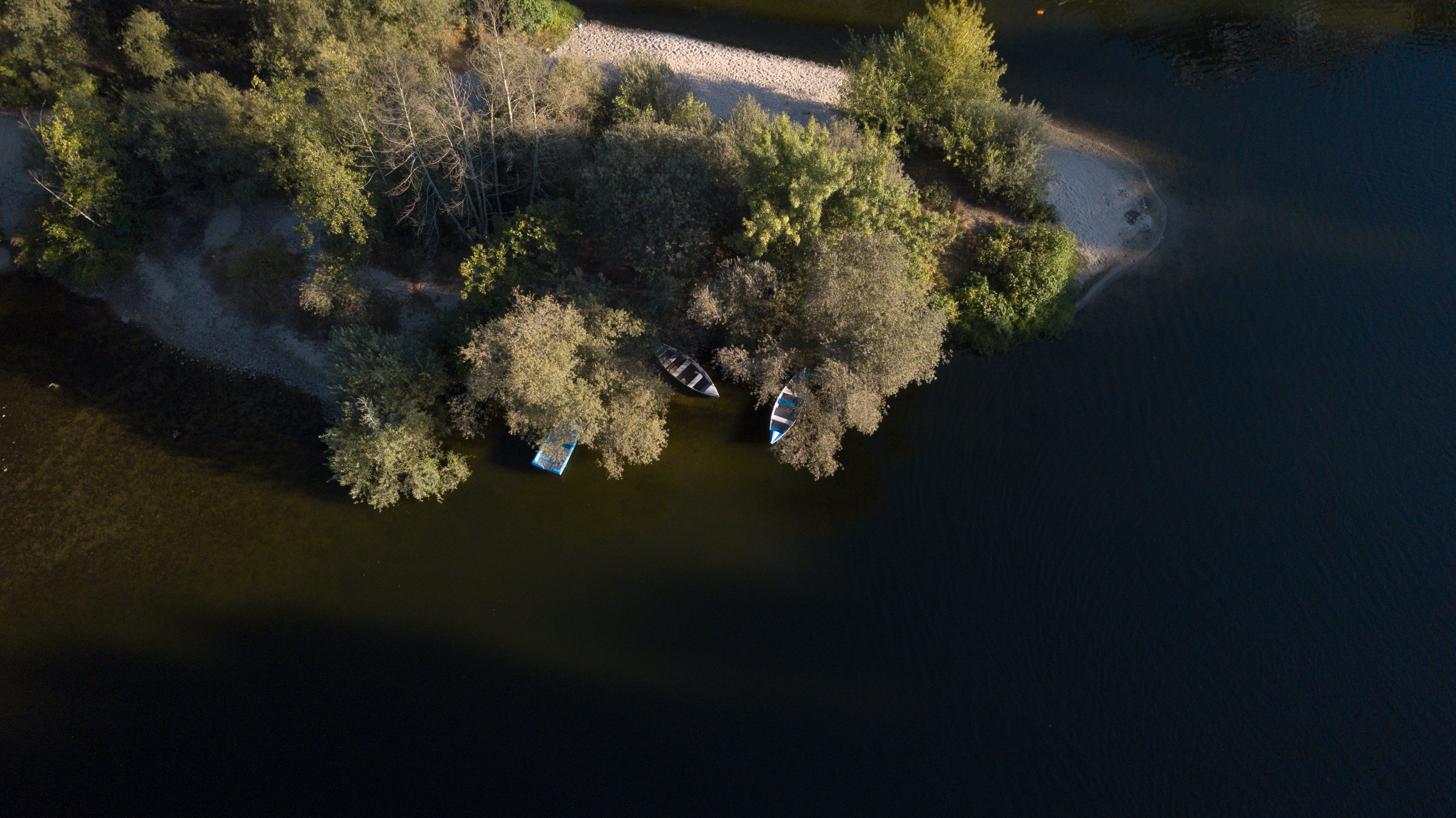 Free stock photo of boat, drone, nature, river
