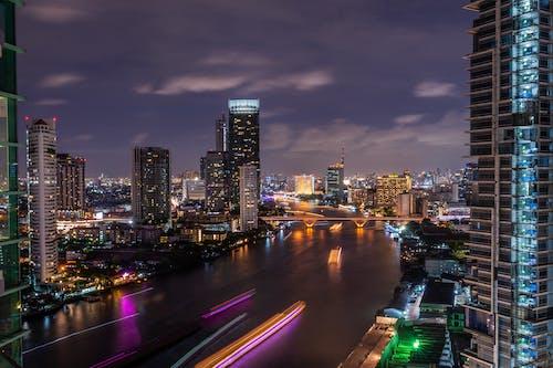 다리, 다채로운, 도시, 밤의 무료 스톡 사진