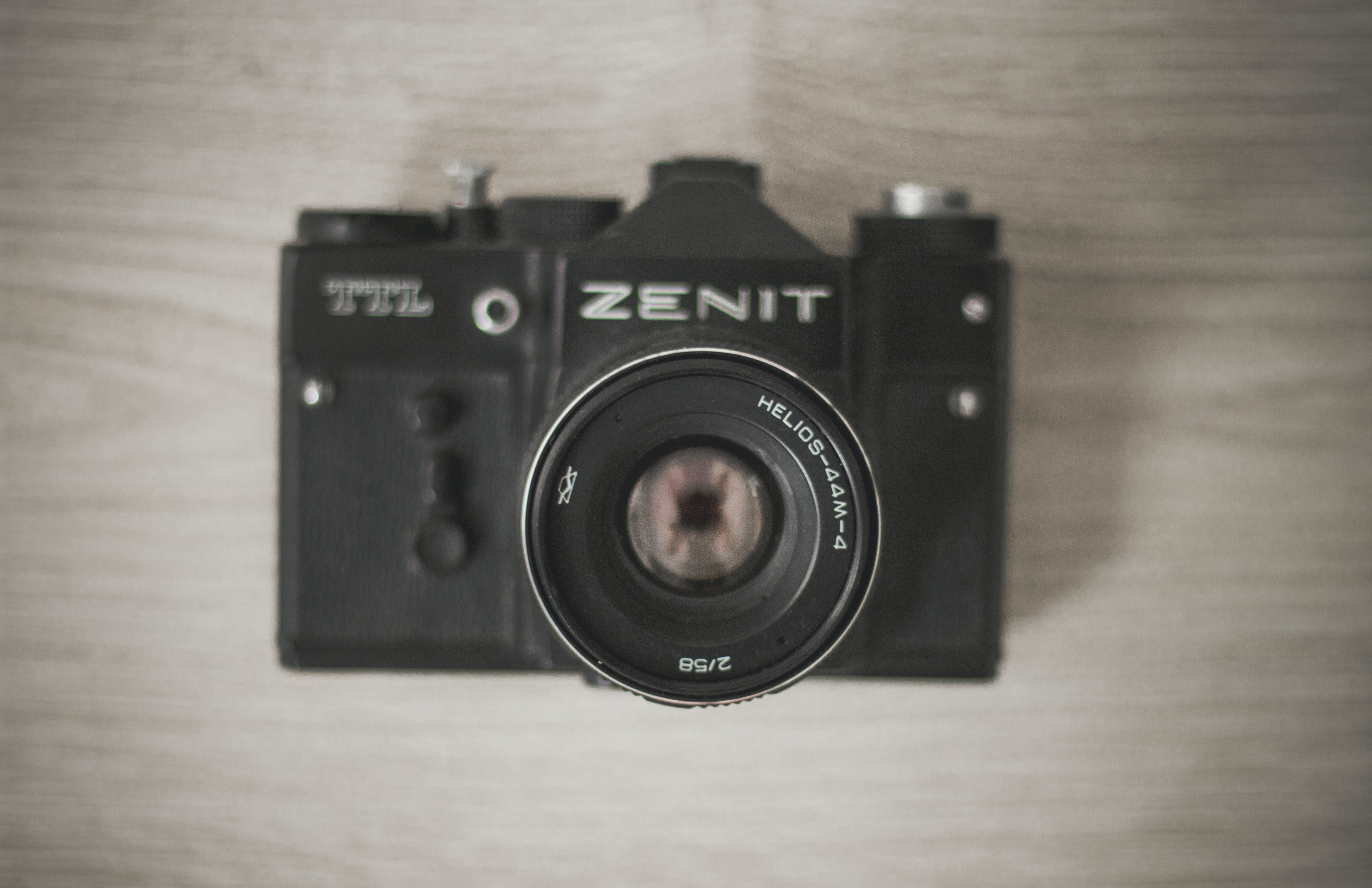 Flat-lay Photograph of Black Zenit Camera