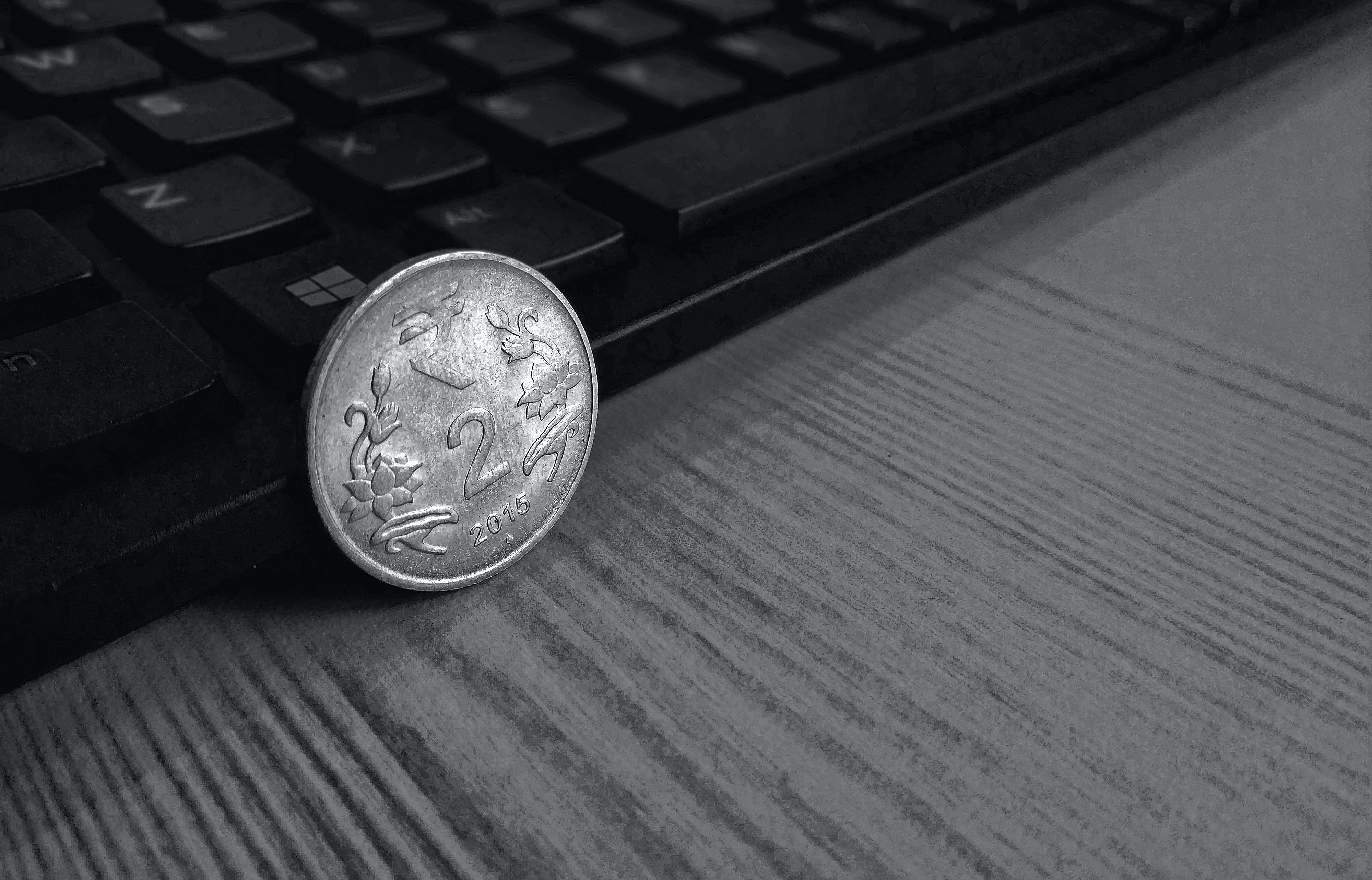 Free stock photo of 2 rupee, black and white, cash, coin