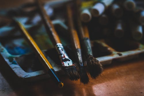 Four Paint Brushes in Macro Photography