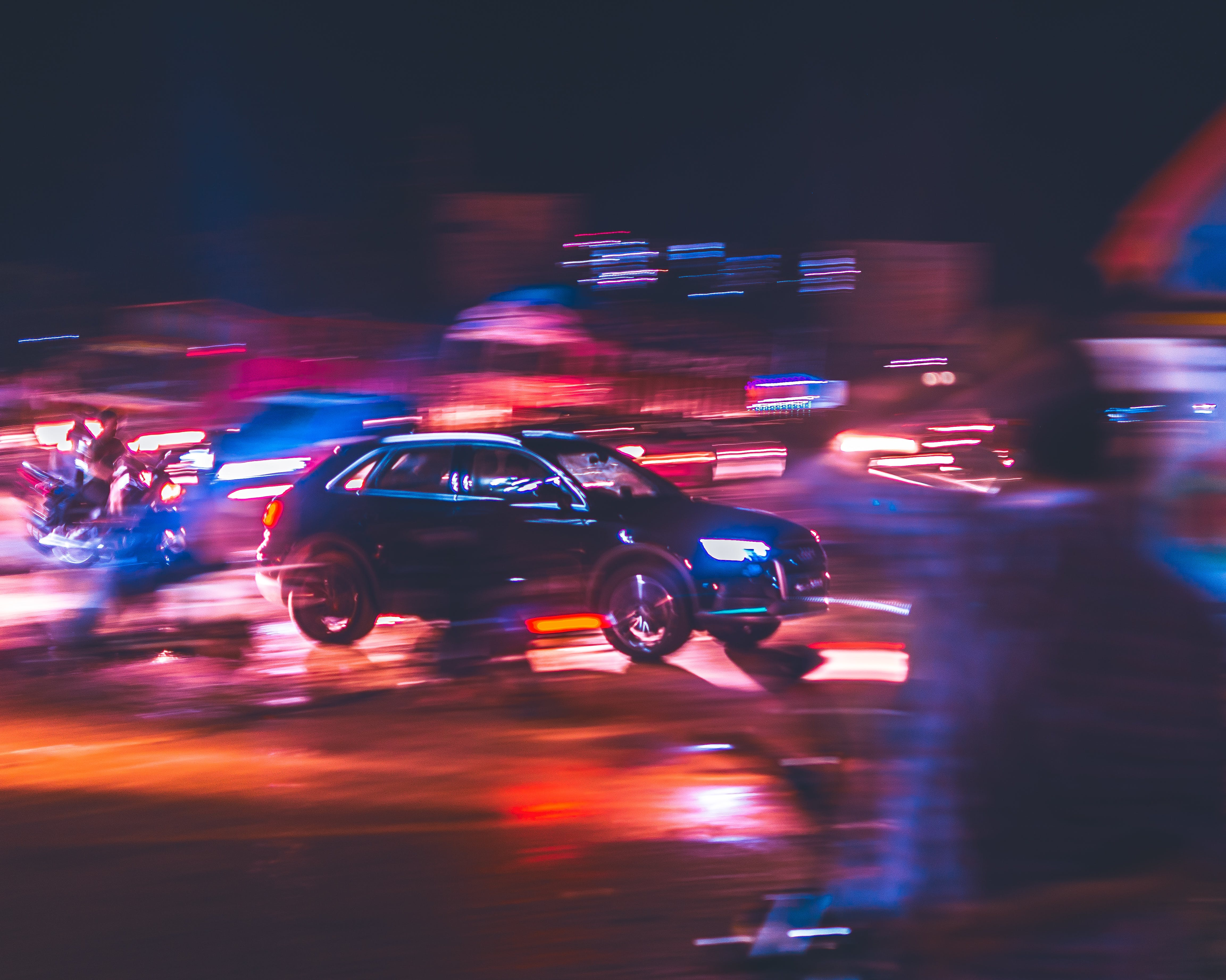 Free stock photo of city, cars, streets, night