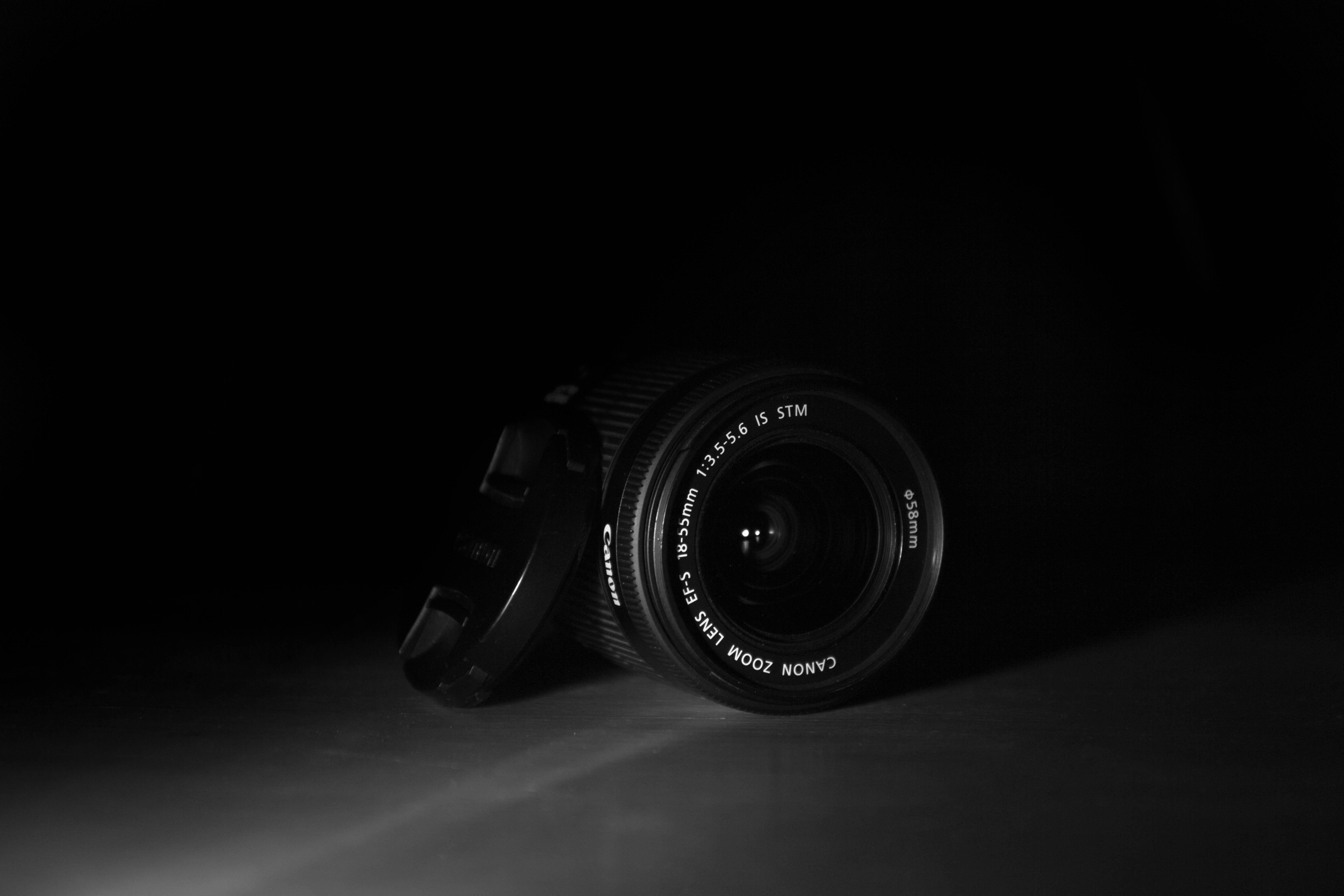 Black Dslr Camera With Black Background Free Stock Photo