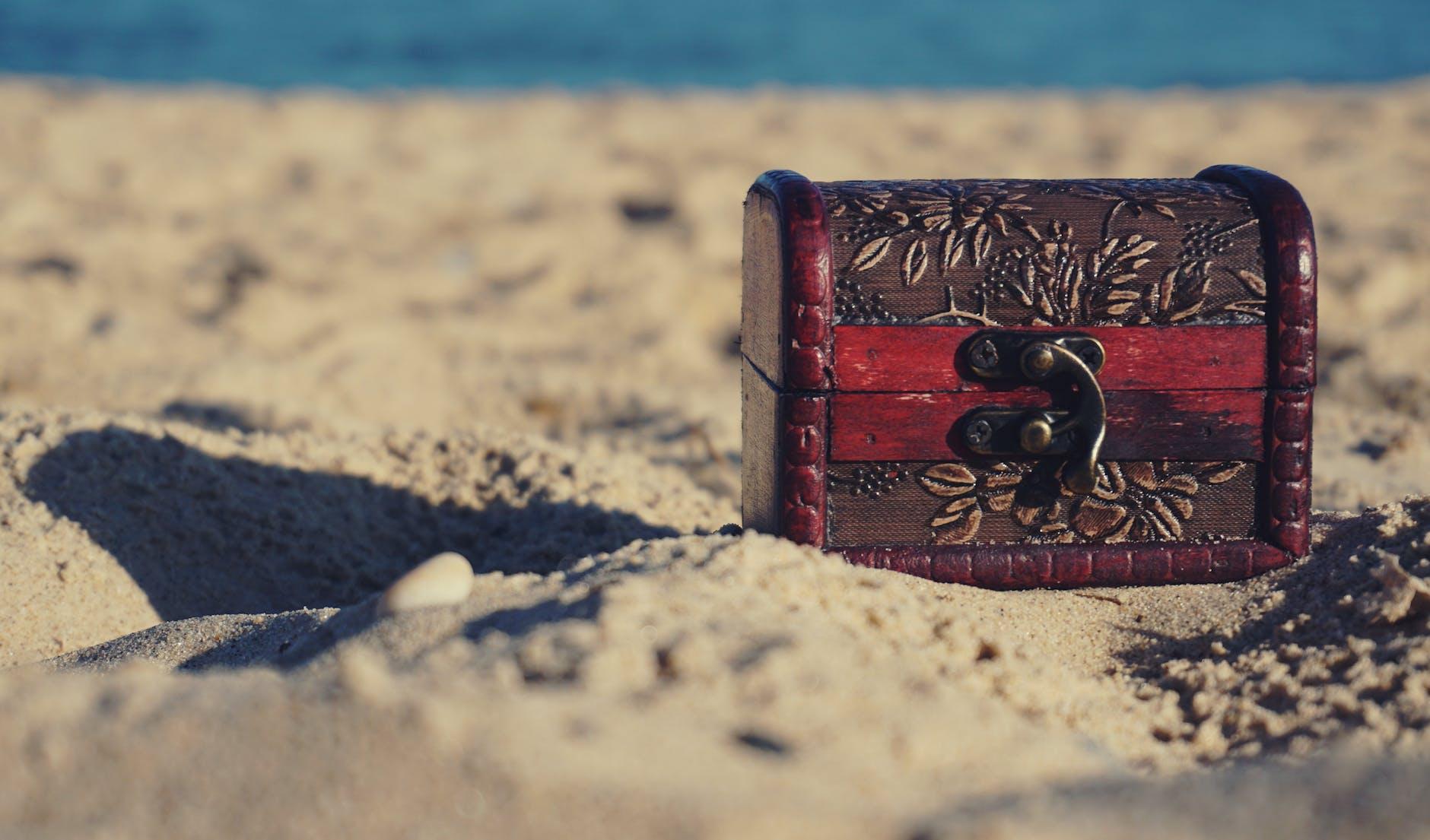 A small treasure chest on a beach