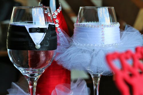 Two Clear Bridge and Groom Wine Glasses