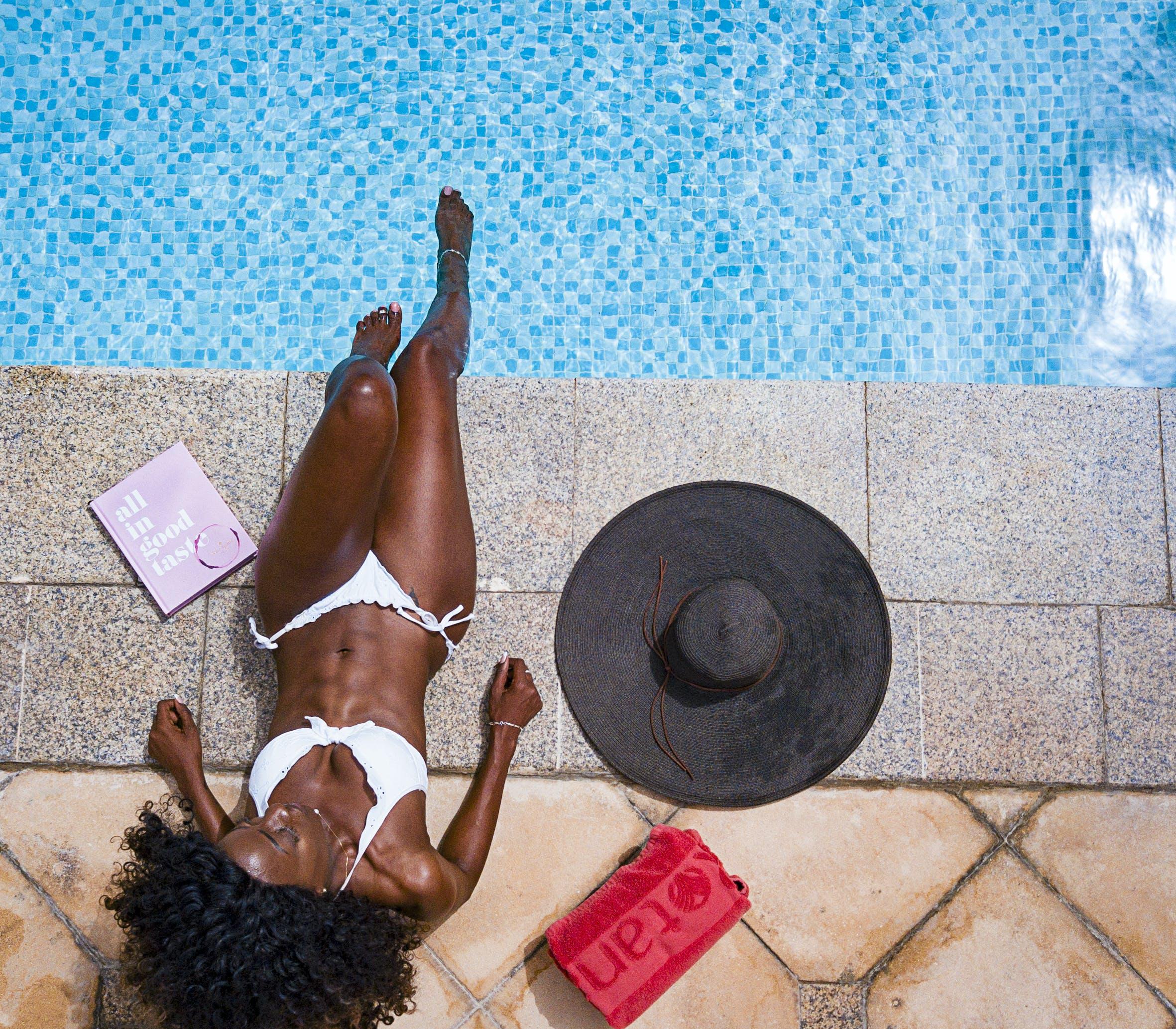 Woman Wearing Bikini Near Pool