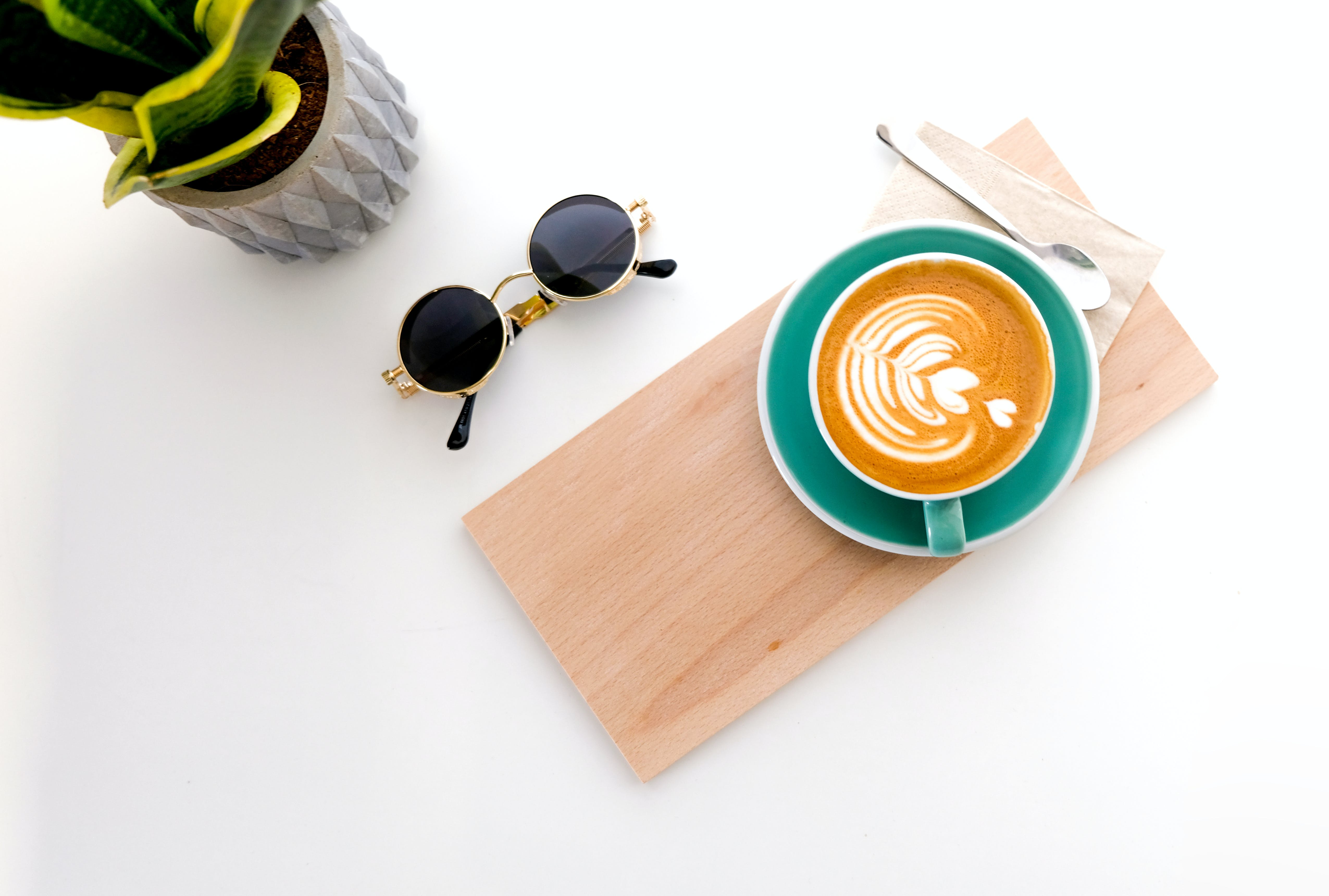 Cup Of Latte On Wooden Tray,