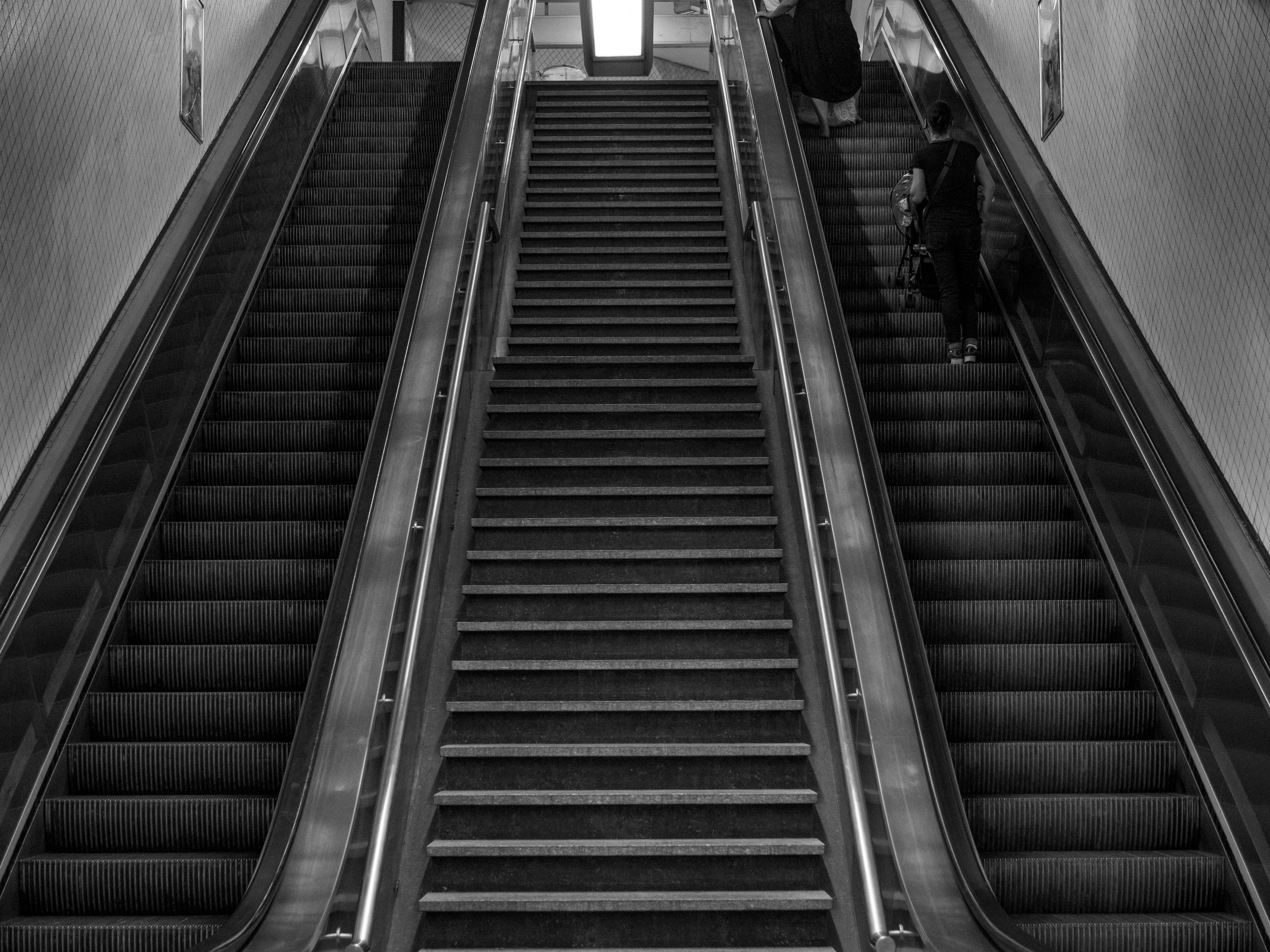 Free stock photo of black and white, escalator, going up, stairs