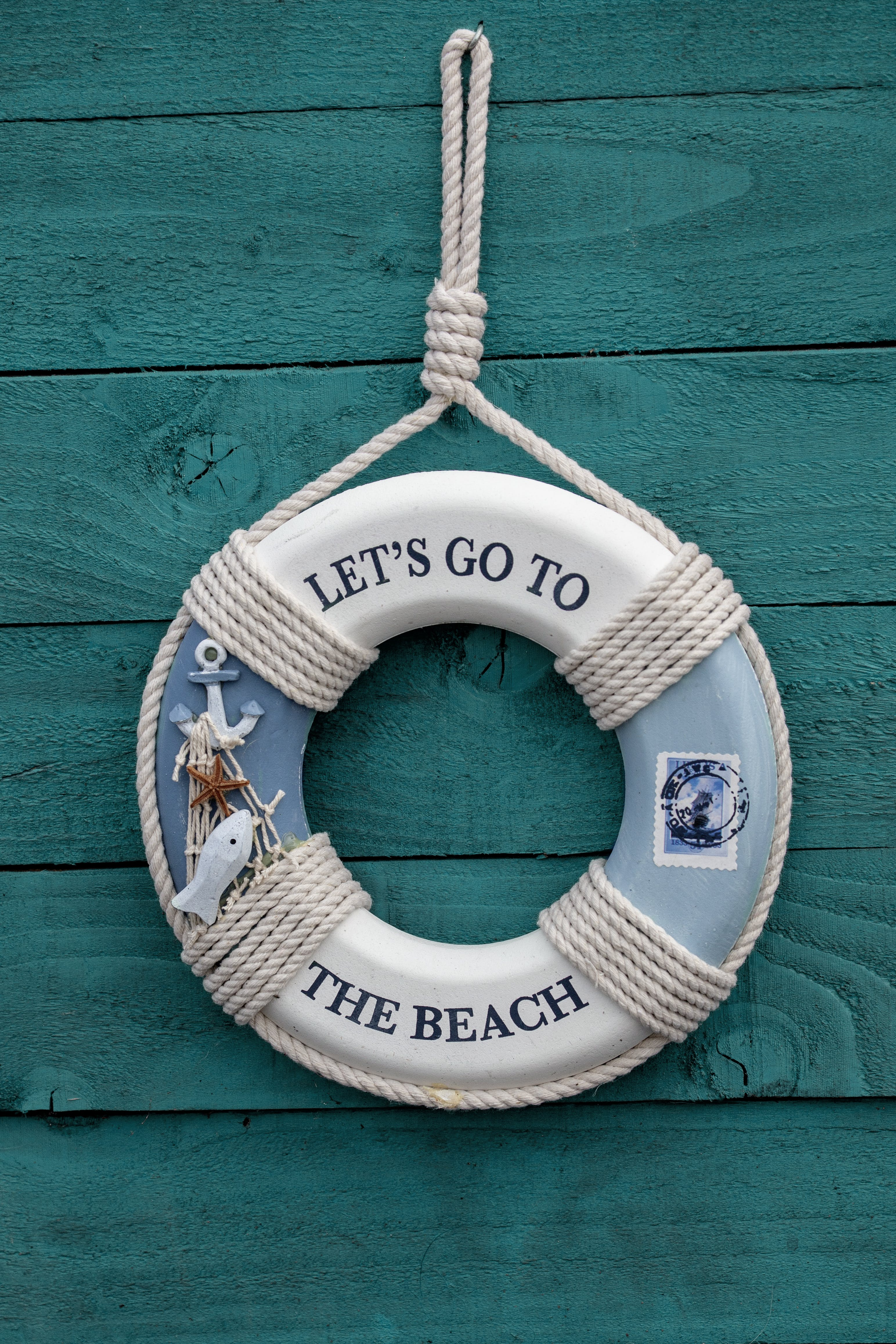 White and Blue Let's Go to the Beach Inflatable Ring Wreath Hanging Decor