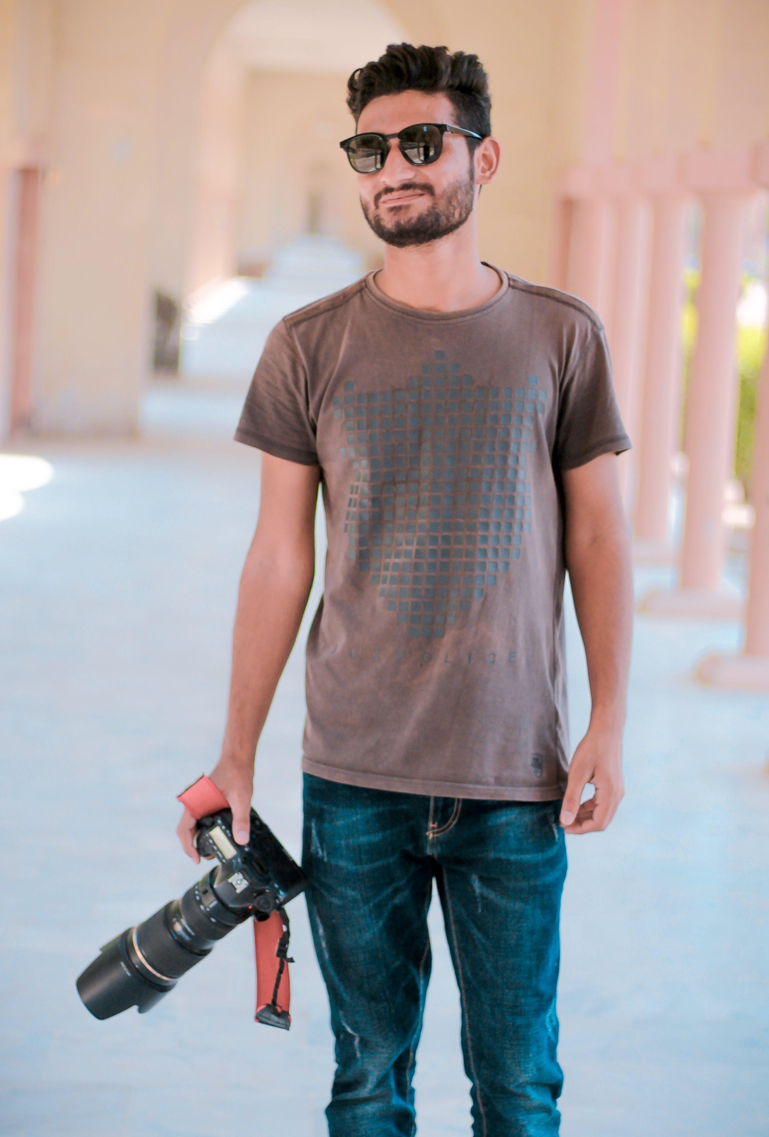 beard, boy, camera