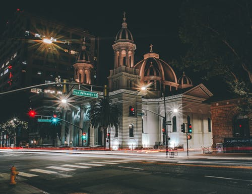 Free stock photo of building, church building, light trails, San jose