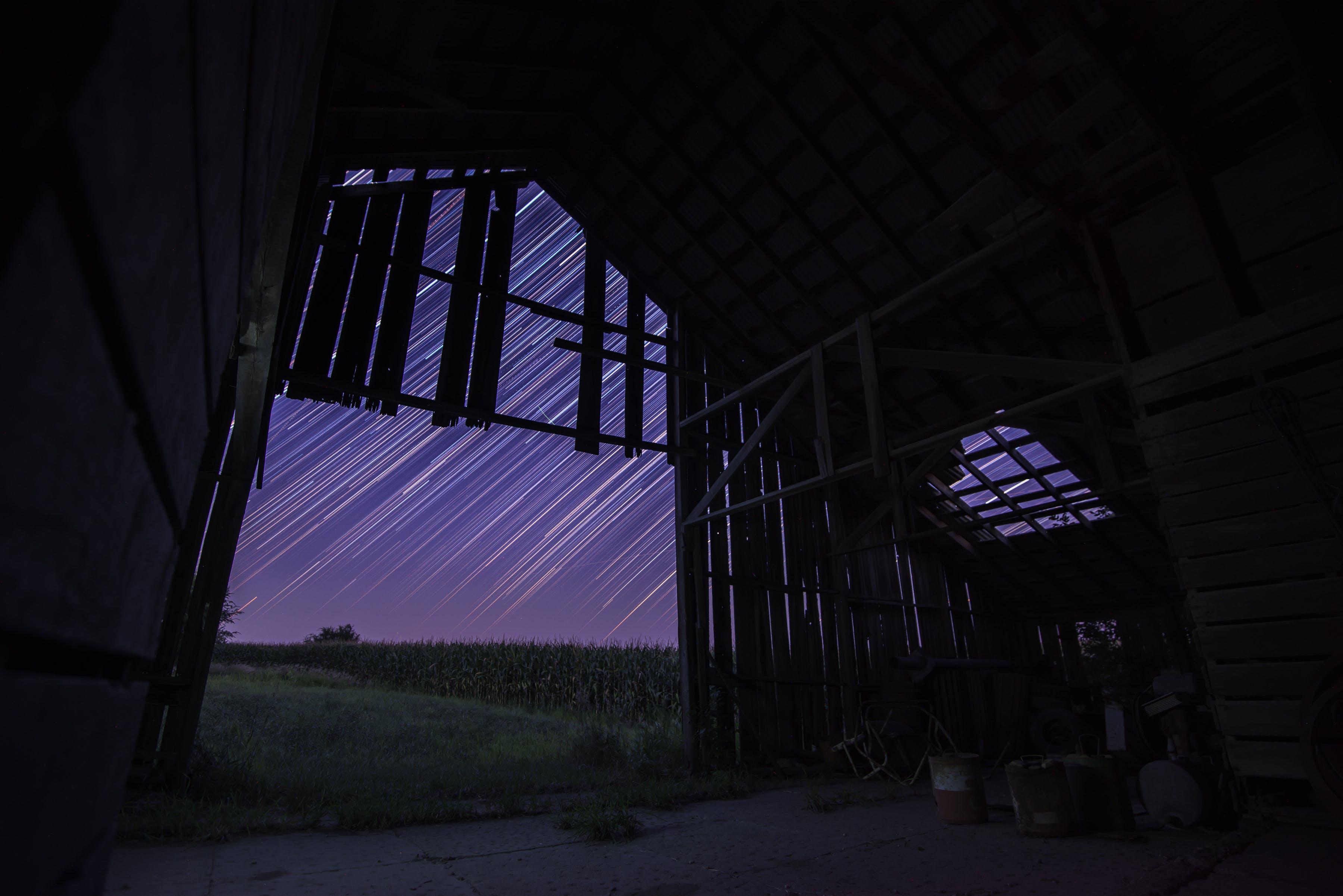 Gratis lagerfoto af astrofotografering, bygning, forladt, gård