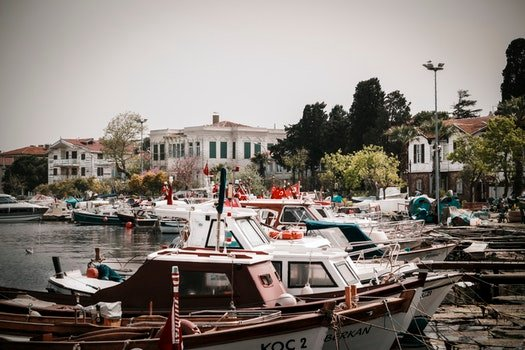 Free stock photo of sea, boats, buildings, island