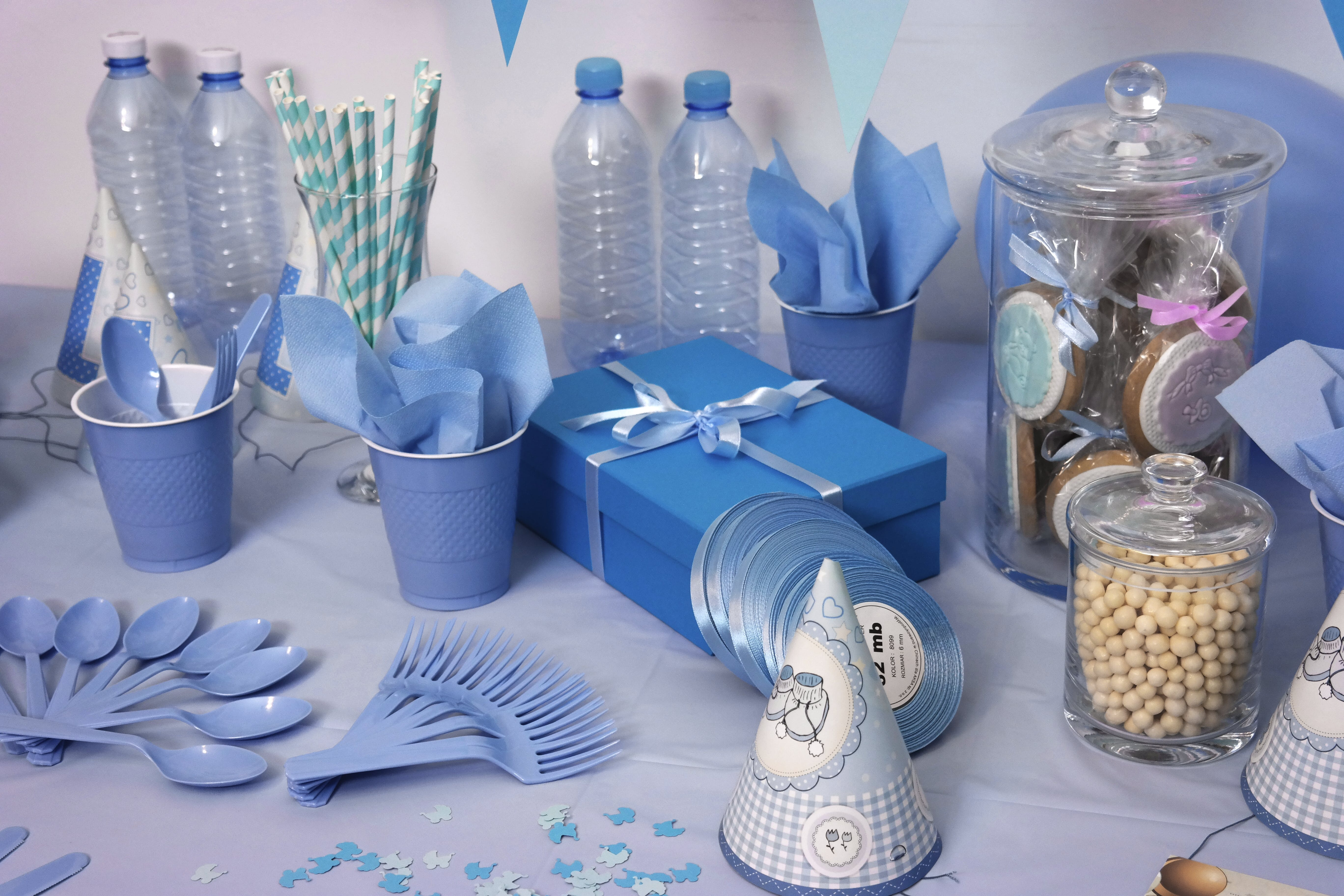 Close-up Photo of Blue-and-white Dinnerware Set on Table