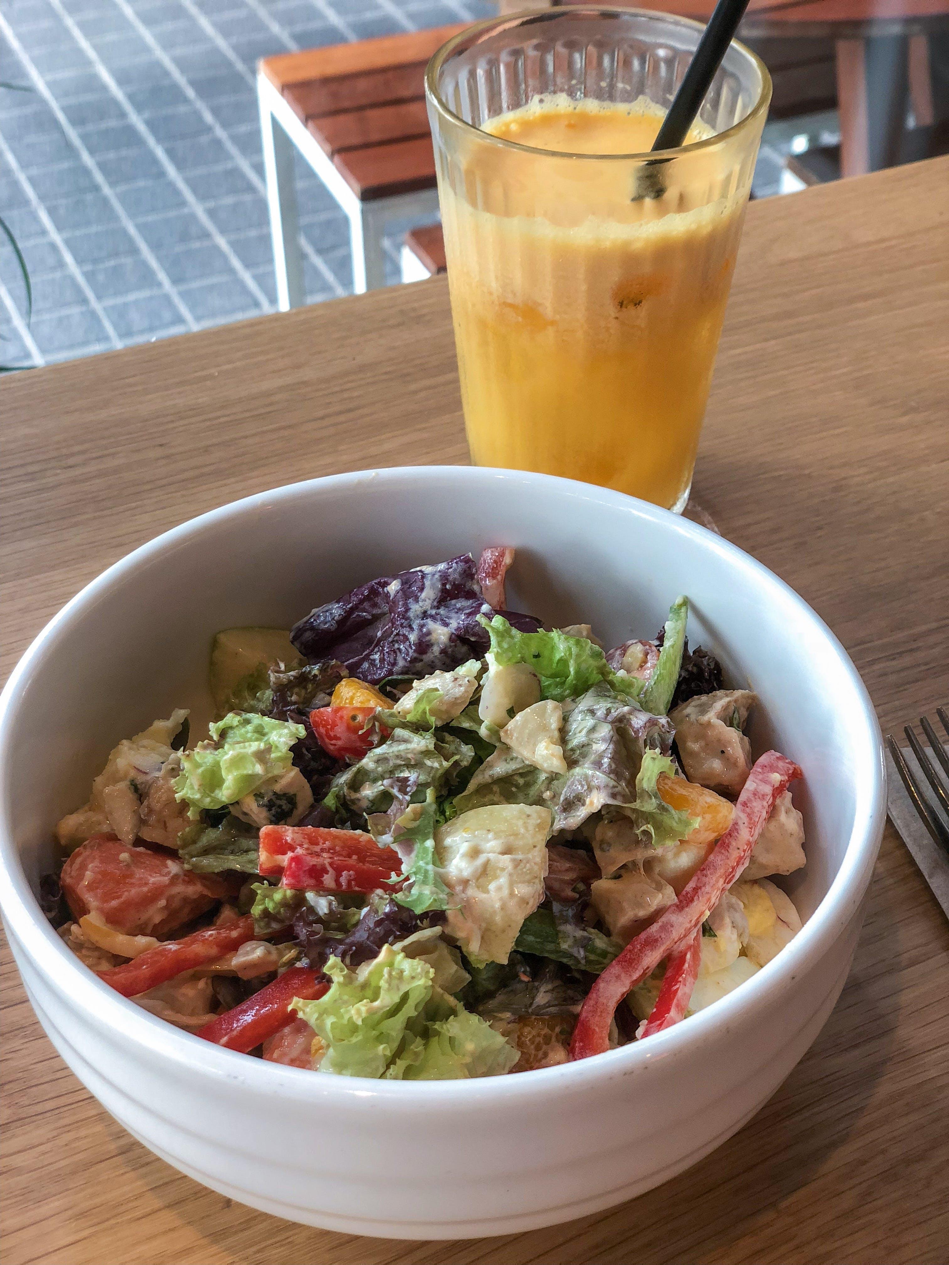Free stock photo of eating healthy, orange juice, salad