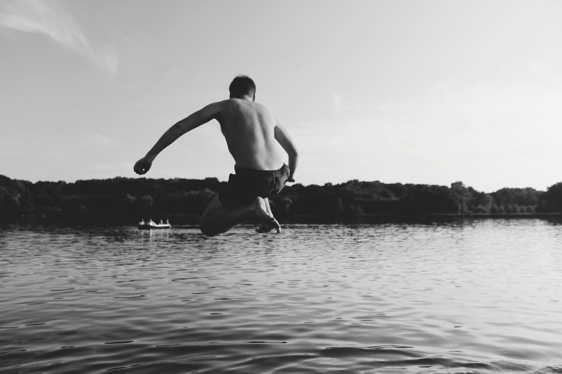 agua, blanco y negro, chaval