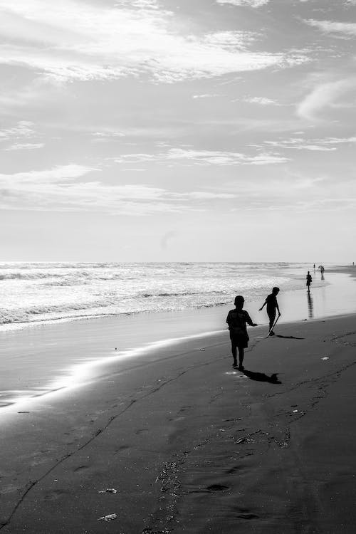 Free stock photo of beach, black and white, bnw, kids
