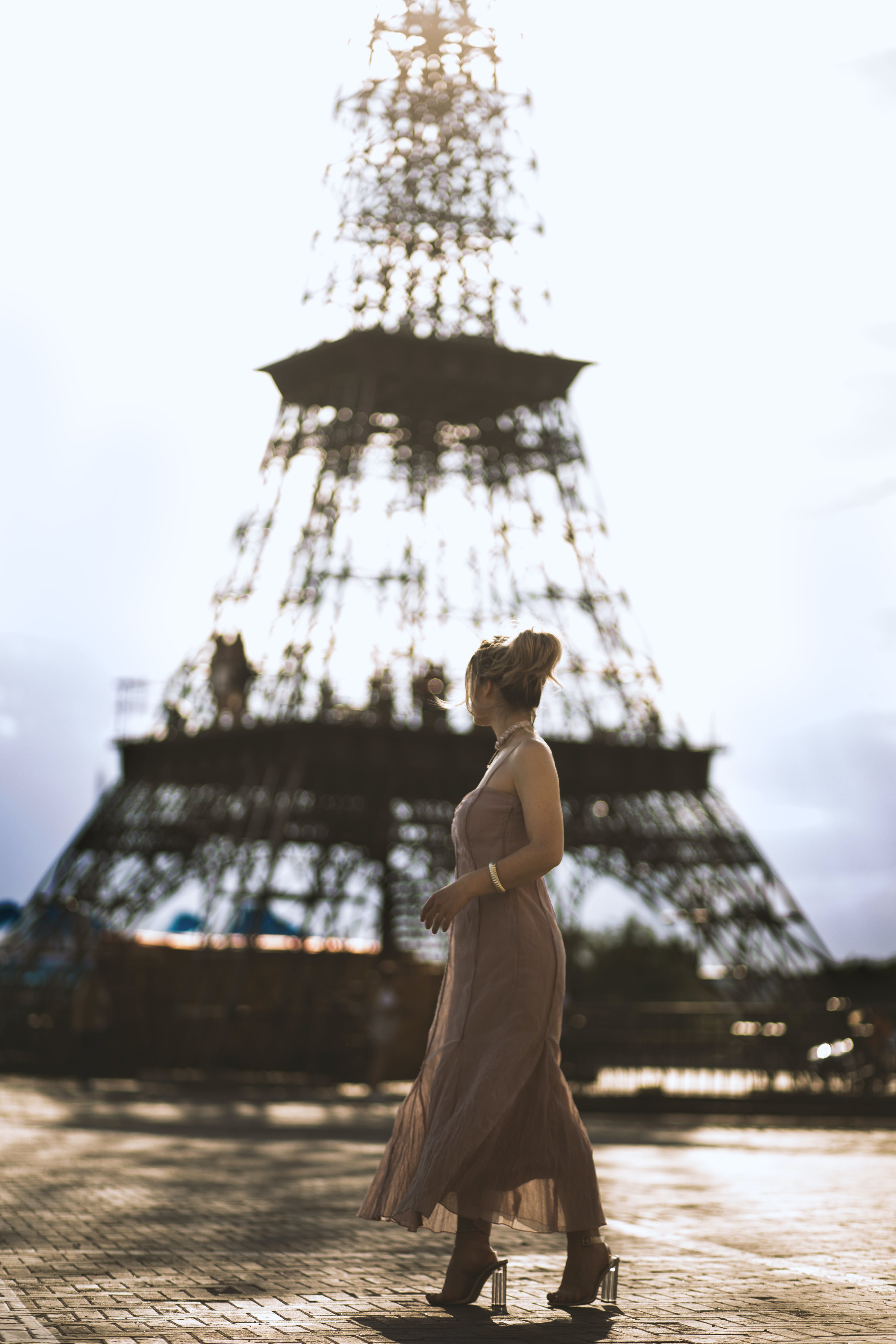 Woman Standing Near Eiffel Tower