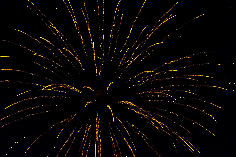 Free stock photo of celebration, fireworks, fireworks display, golden yellow