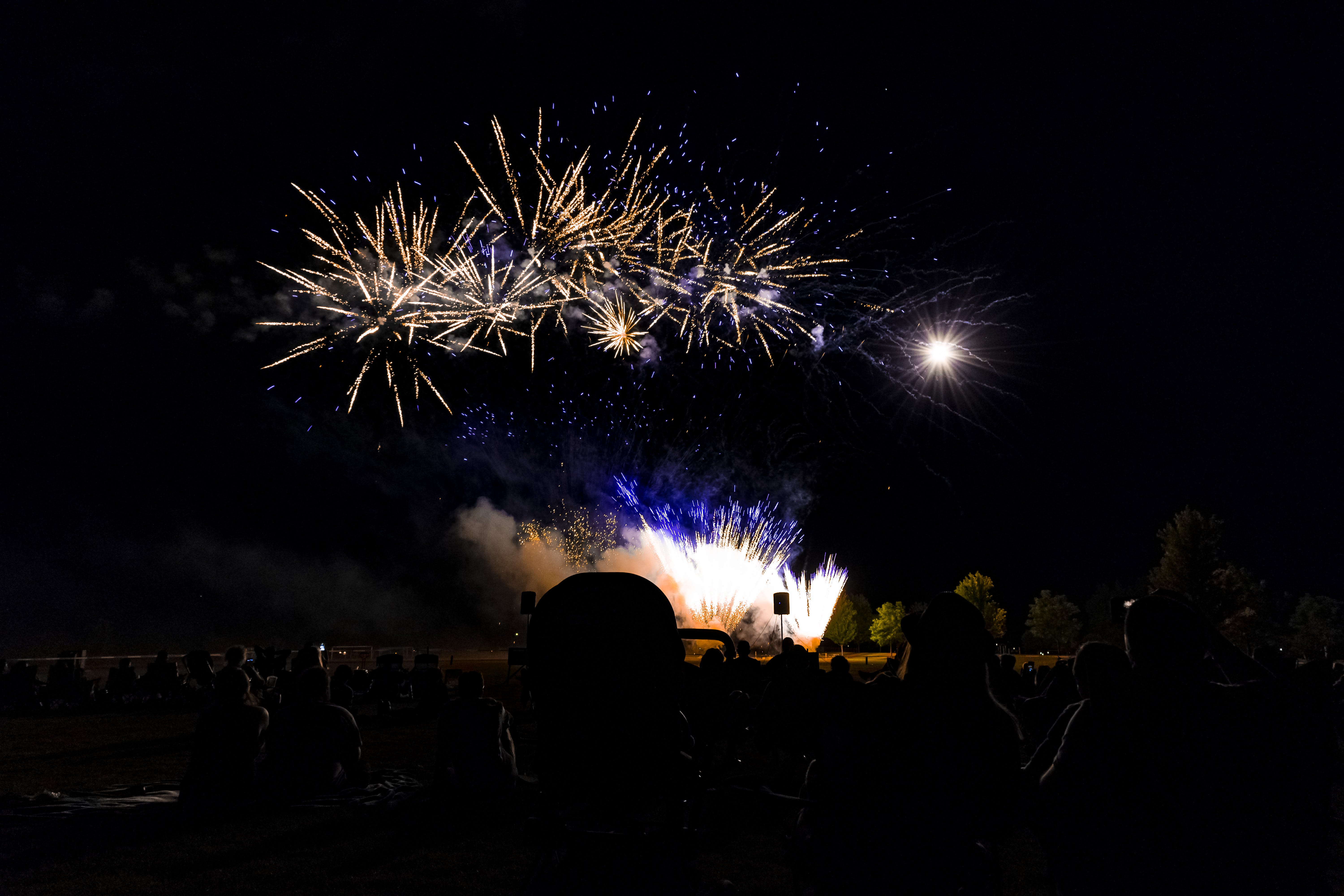 Photo of Crowd Looking at Fireworks Display