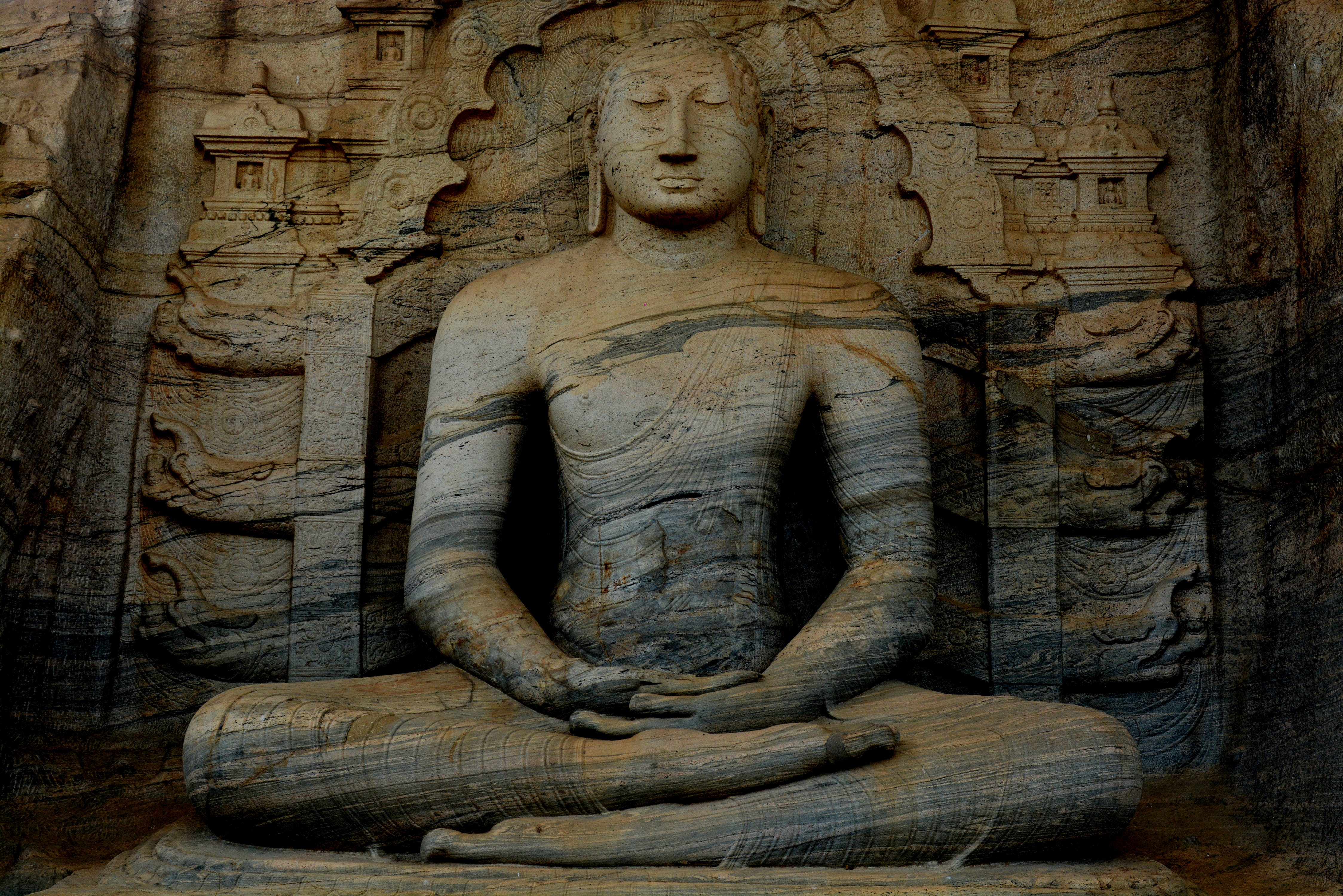 Photograph of a Meditating Buddha Statue