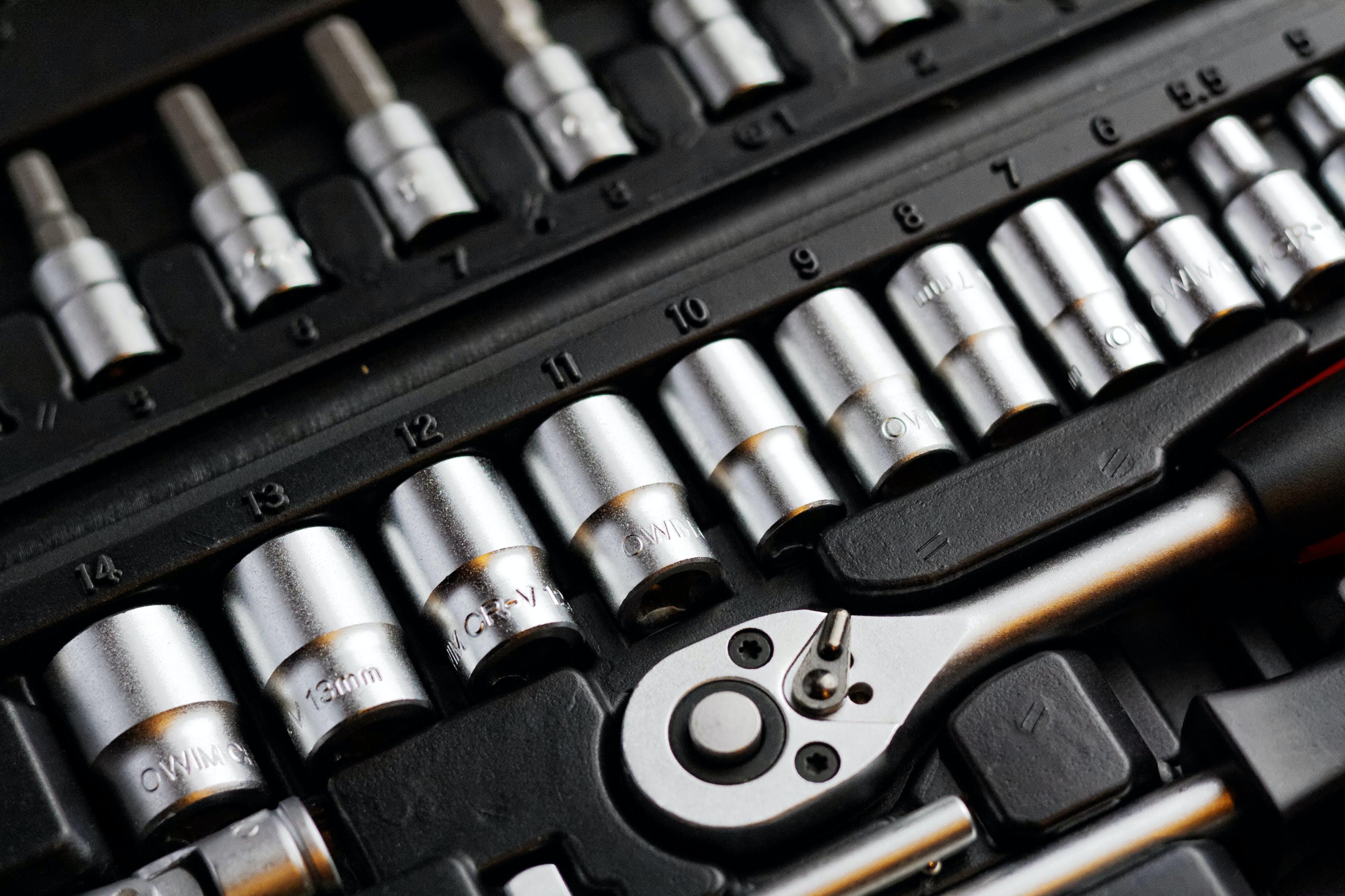 Gray Steel Socket Wrench Set