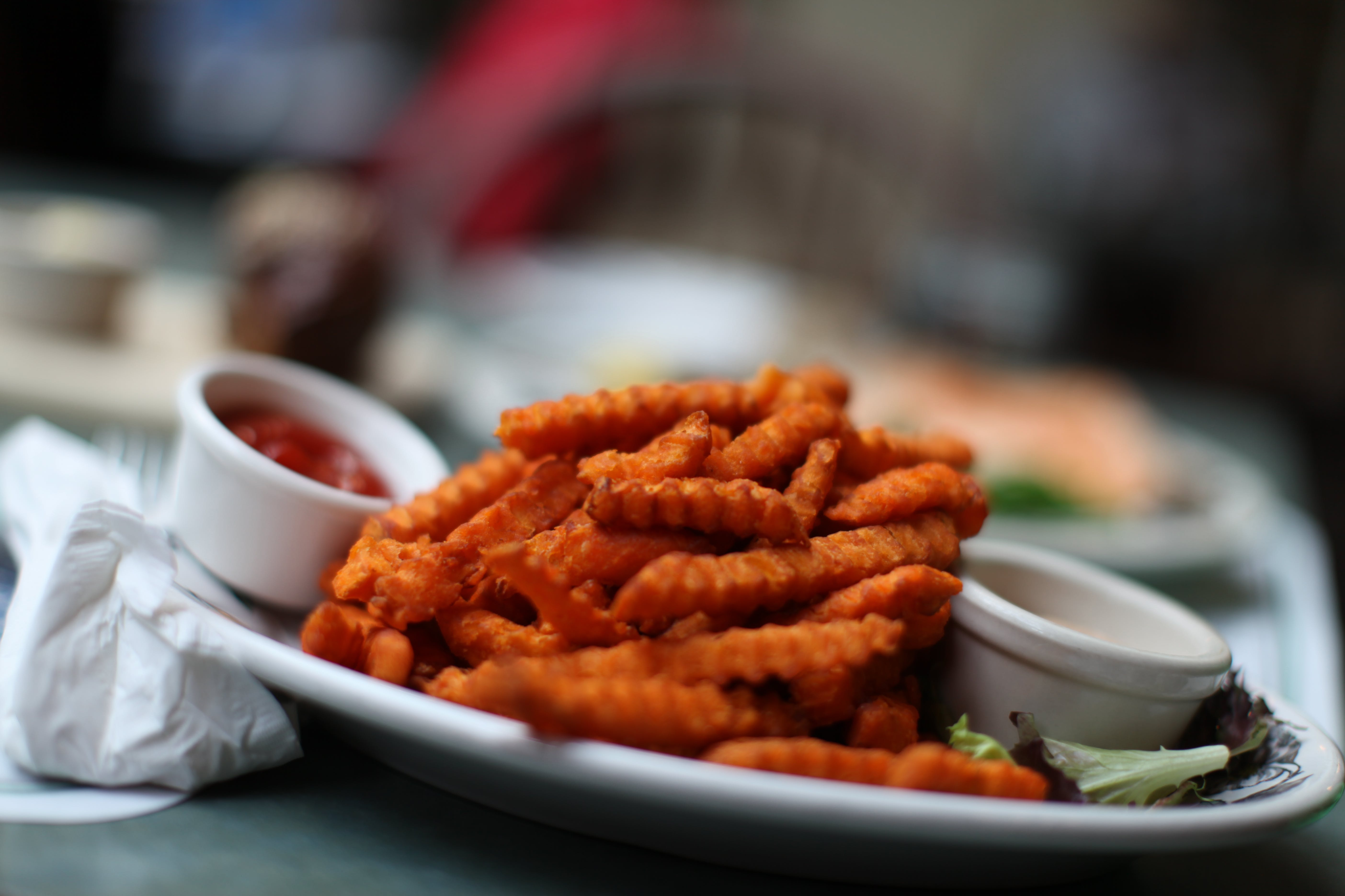 Fried Food on Round White Ceramic Plate