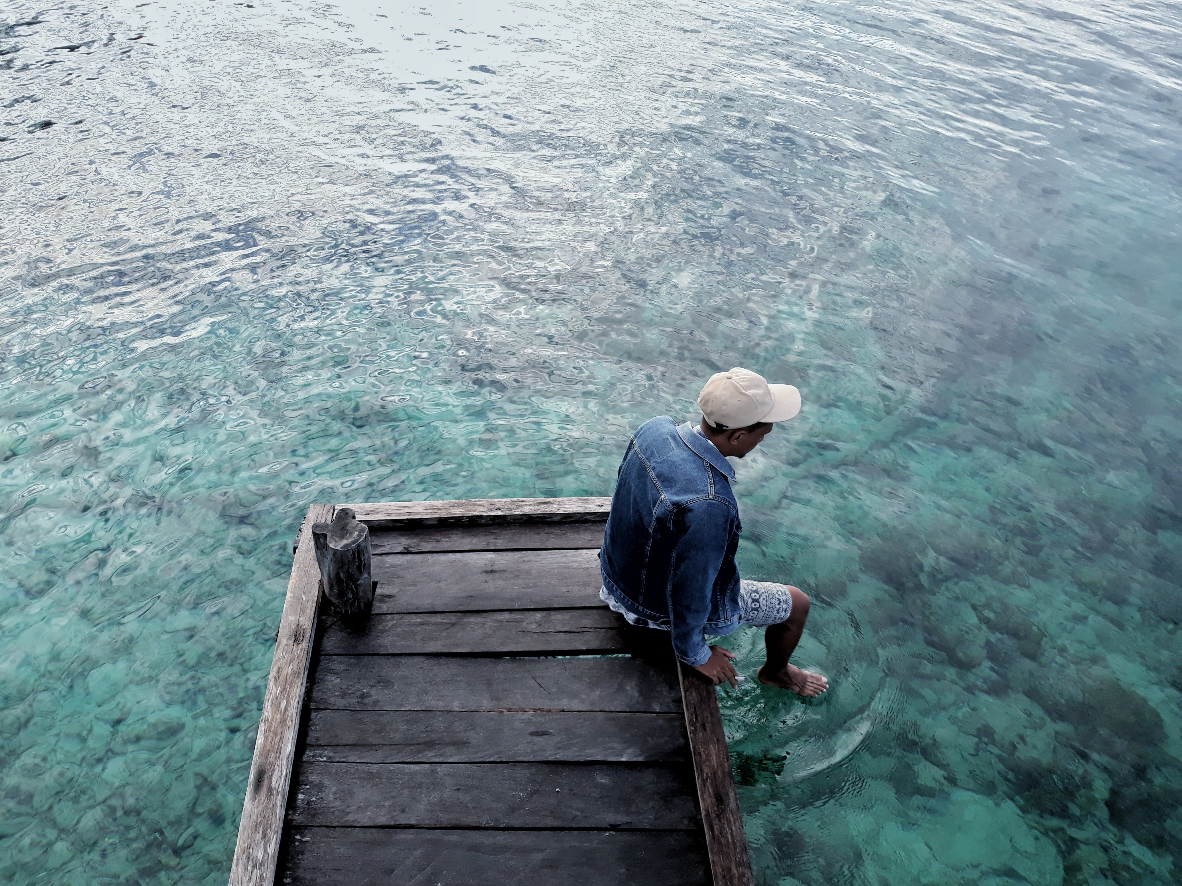 Photo of Man Sitting on Dock