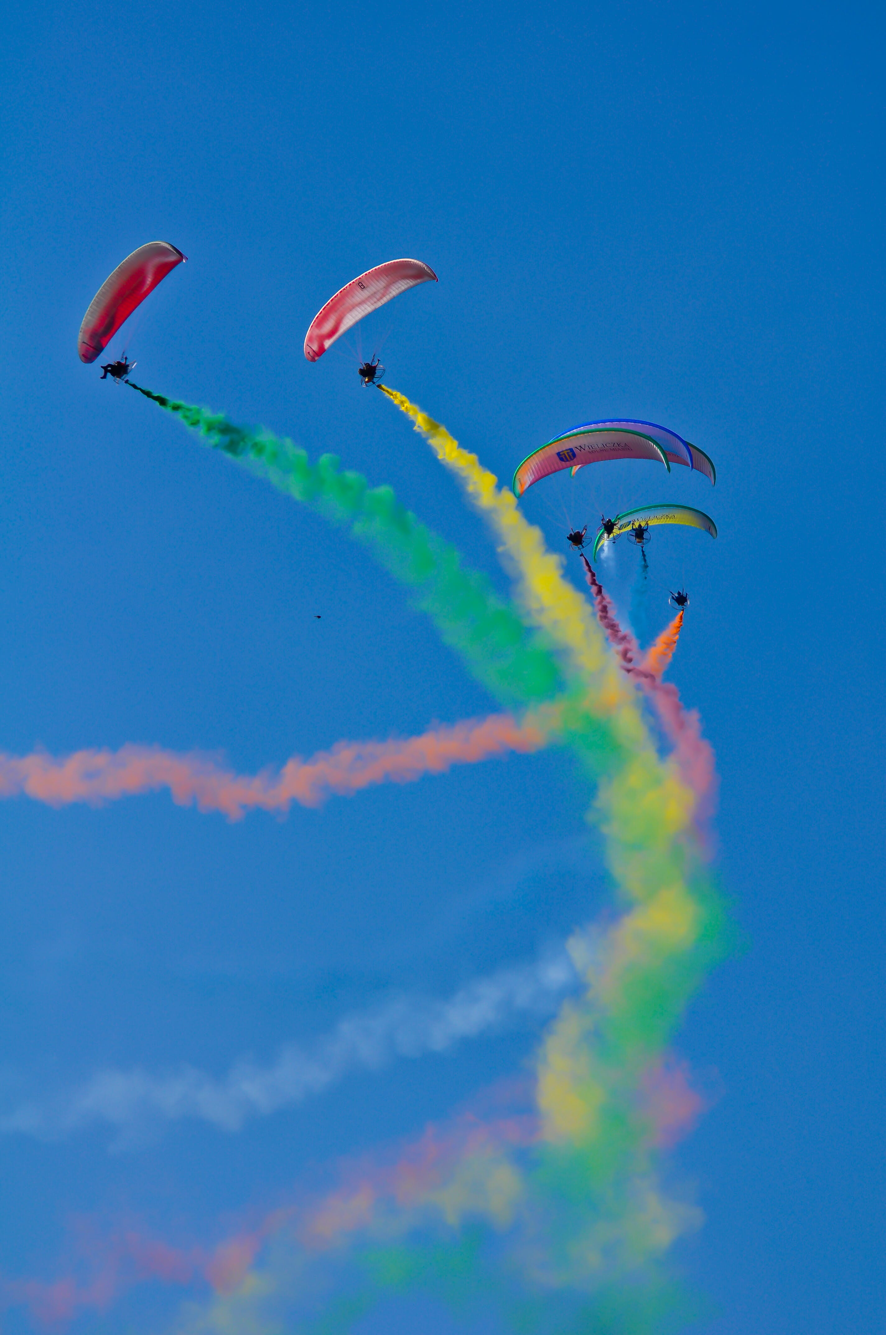 Photo of Skydivers with Colourful Smoke